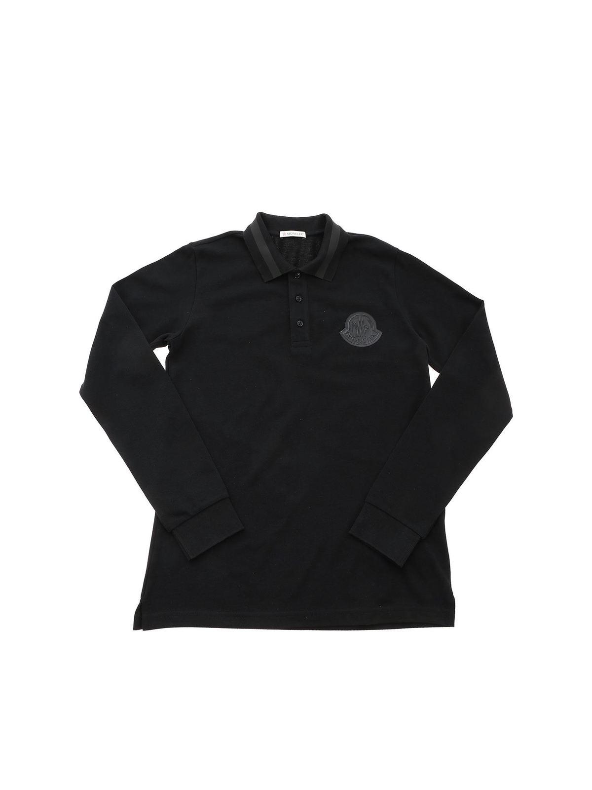 MONCLER JR LOGO PATCH POLO SHIRT IN BLACK