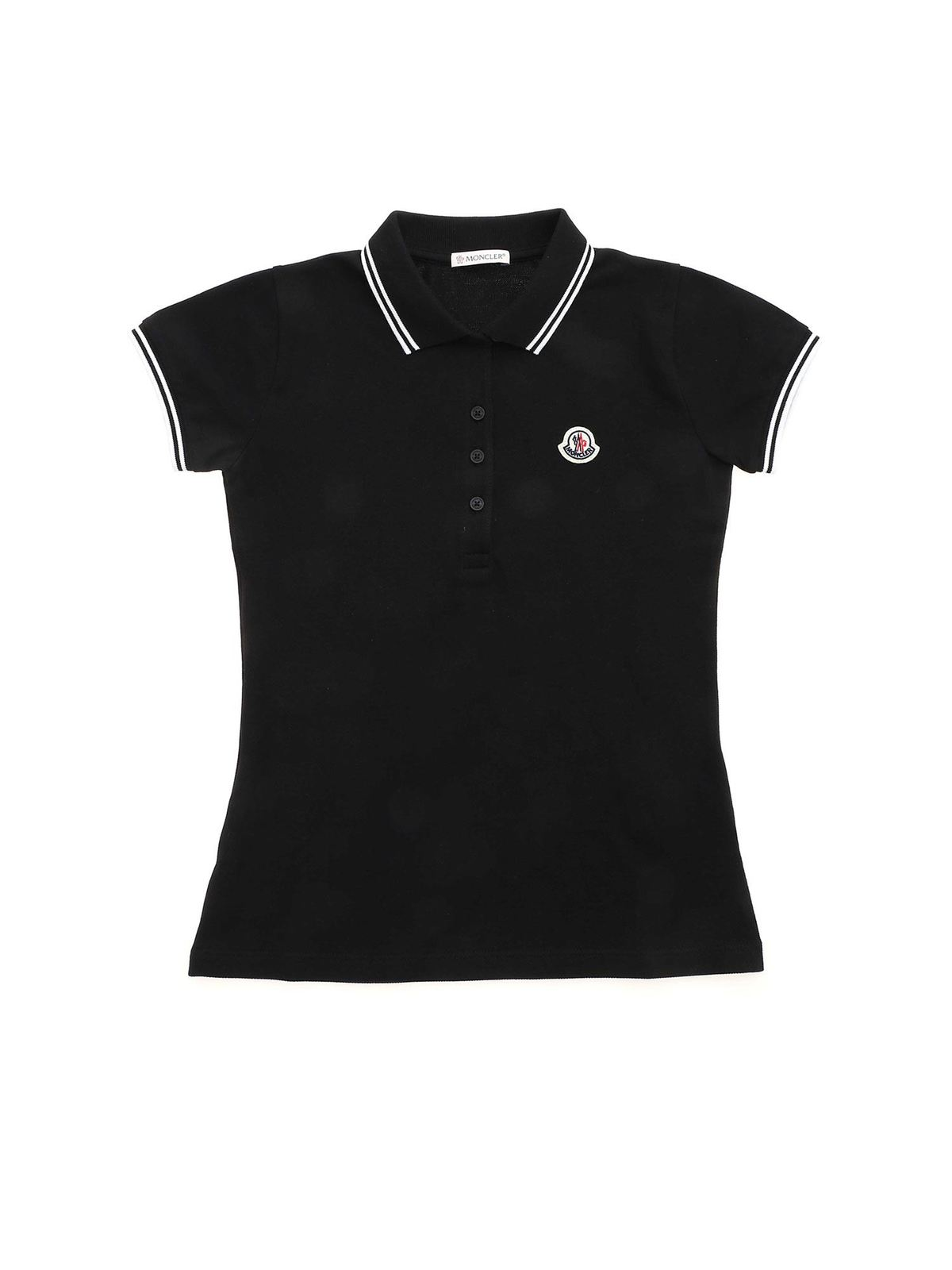 MONCLER JR LOGO PATCH POLO SHIRT IN BLACK