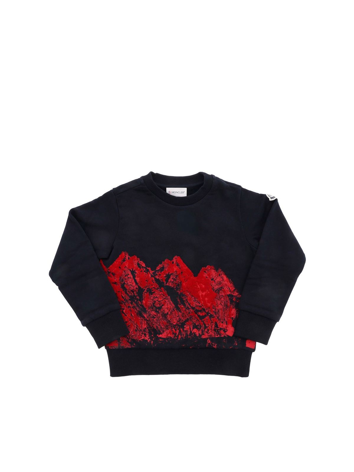 Moncler Jr Cottons FLOCK PRINT SWEATSHIRT IN BLUE