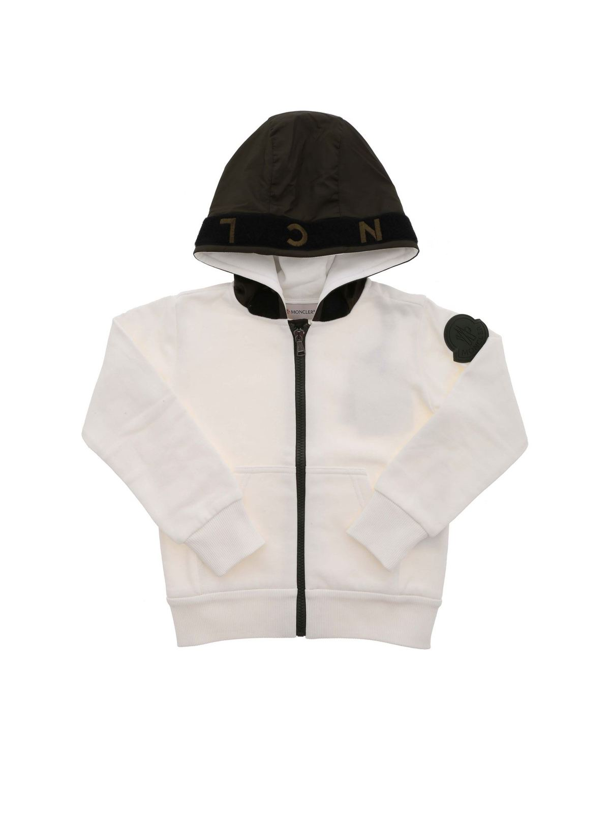 Moncler Jr Cottons GREEN AND BLACK HOOD SWEATSHIRT IN WHITE