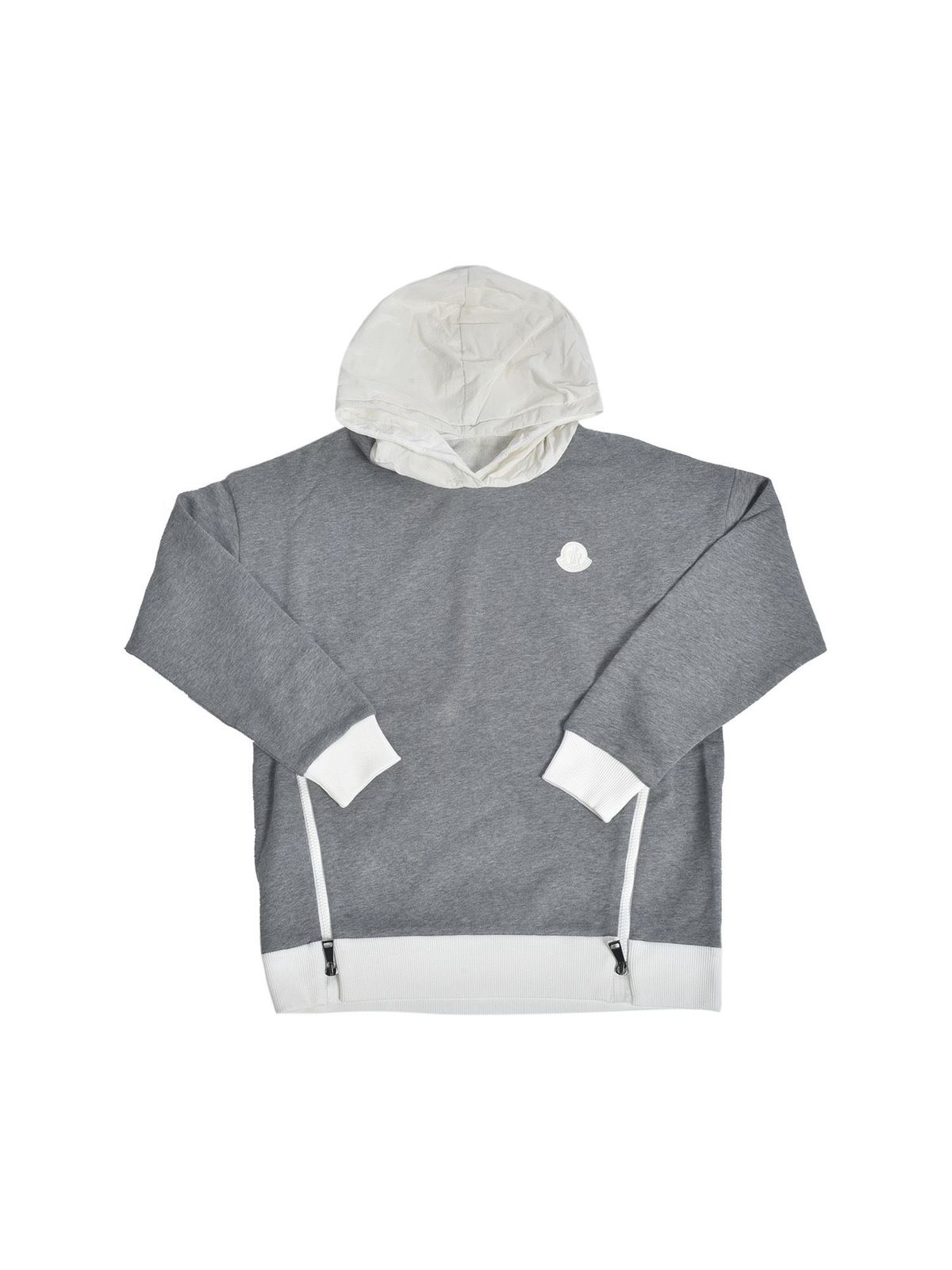 MONCLER JR LOGO PATCH SWEATSHIRT IN GREY MELANGE