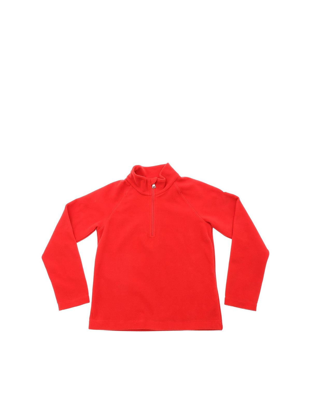 Moncler Jr Sweatshirts RED FLEECE SWEATSHIRT WITH LOGO