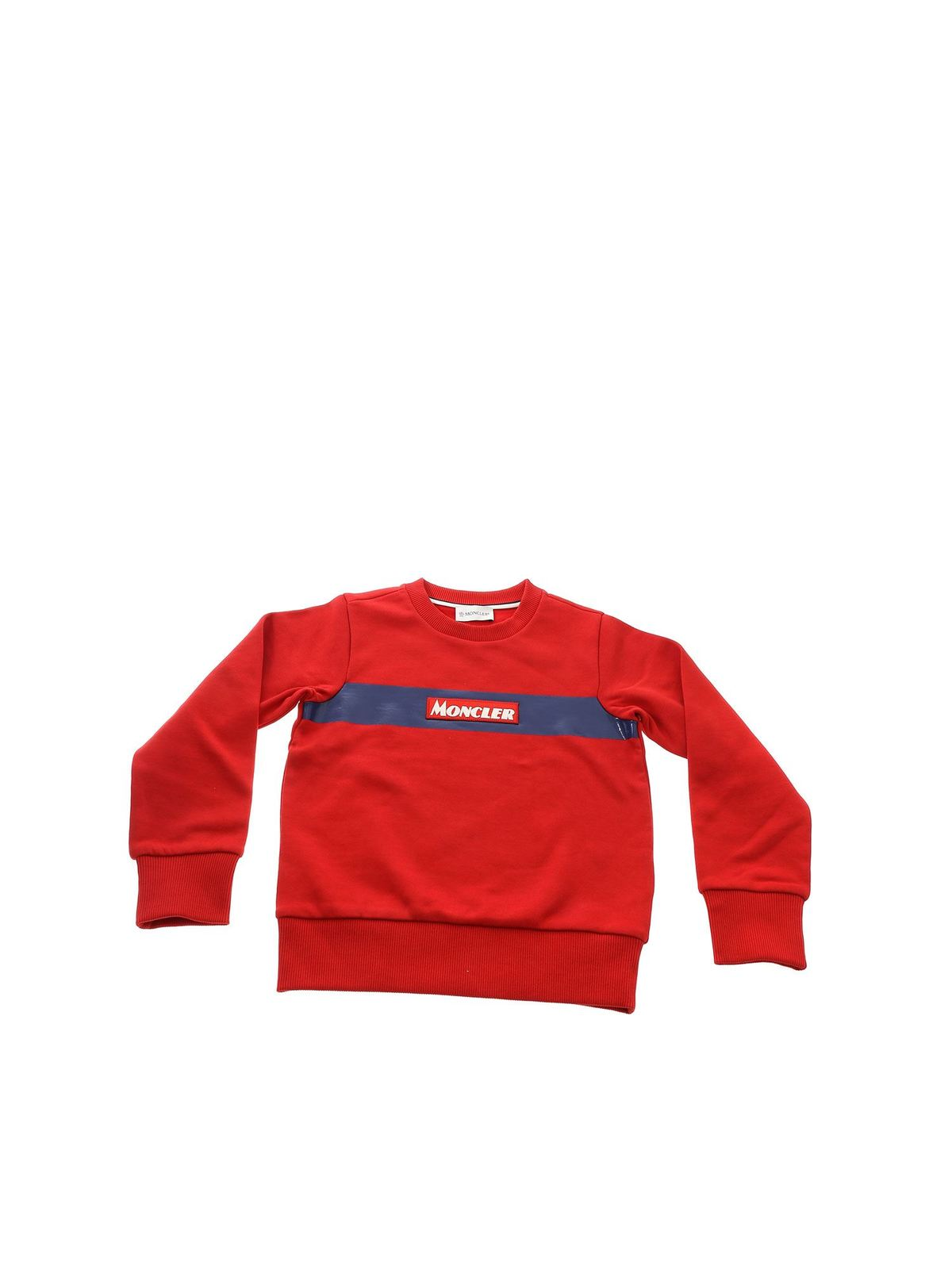 MONCLER JR RED SWEATSHIRT WITH LOGO PATCH