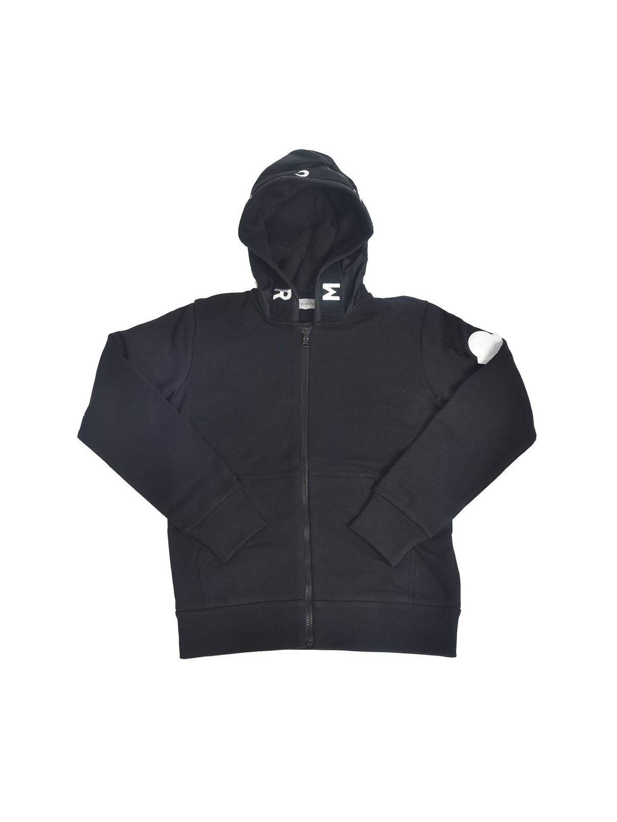 MONCLER JR SWEATSHIRT WITH LOGO PATCH IN BLACK