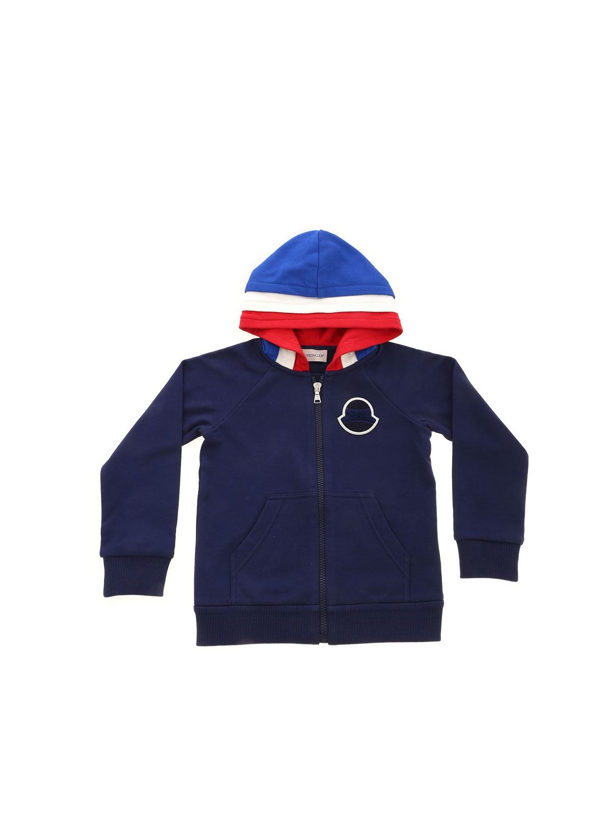 MONCLER JR TONE-ON-TONE LOGO PATCH SWEATSHIRT IN BLUE