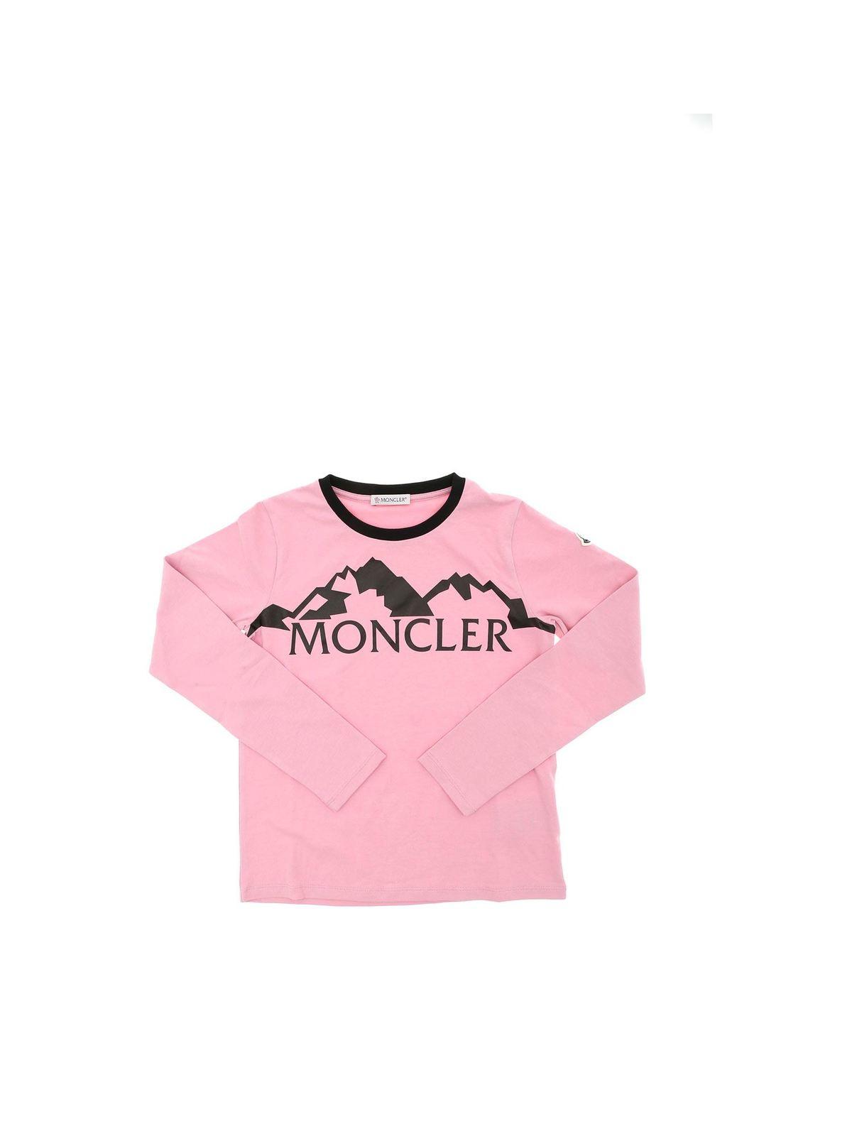 Moncler Jr Cottons BLACK LOGO PRINT T-SHIRT IN PINK