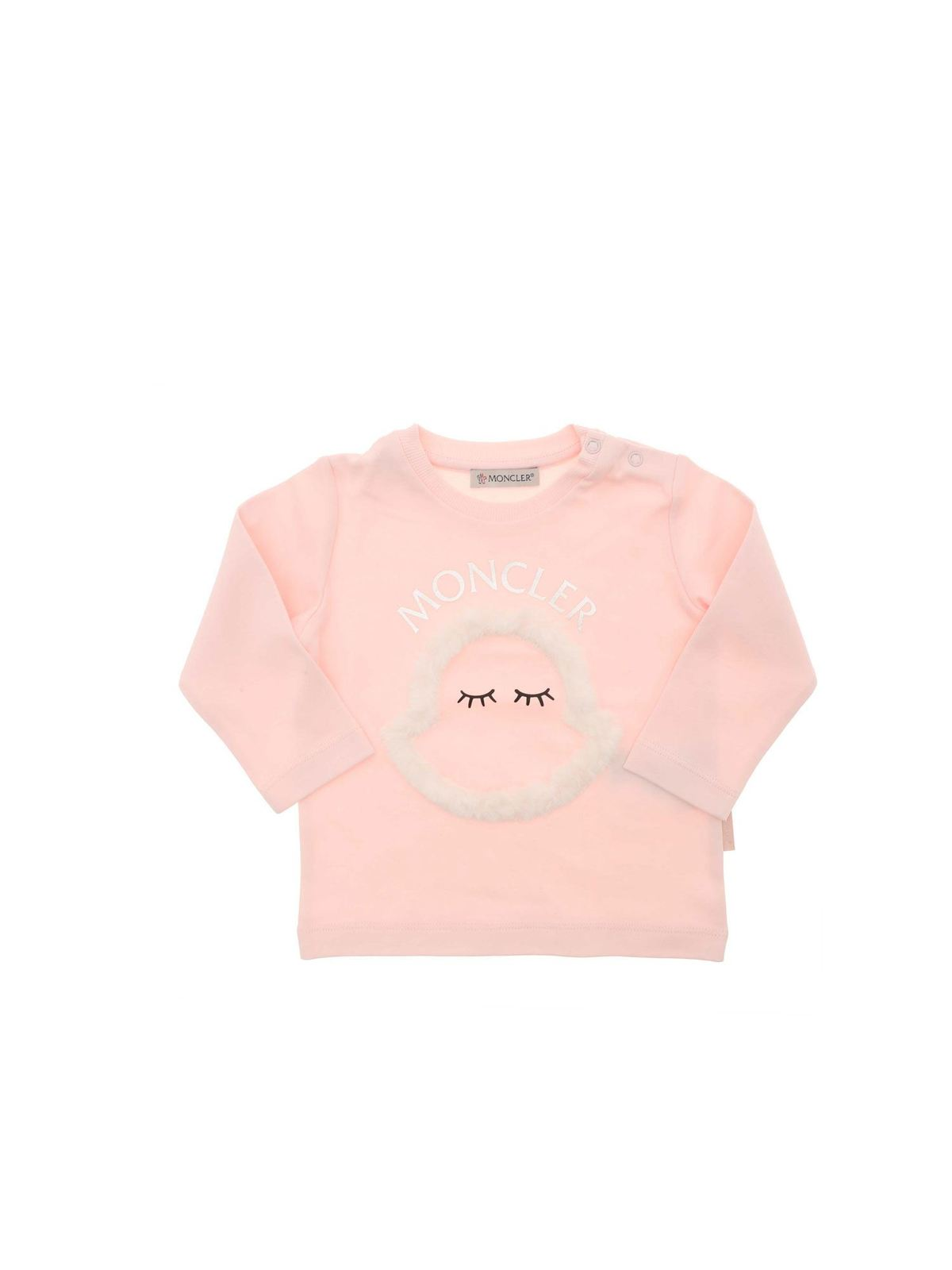 MONCLER JR FAUX FUR INSERT T-SHIRT IN PINK