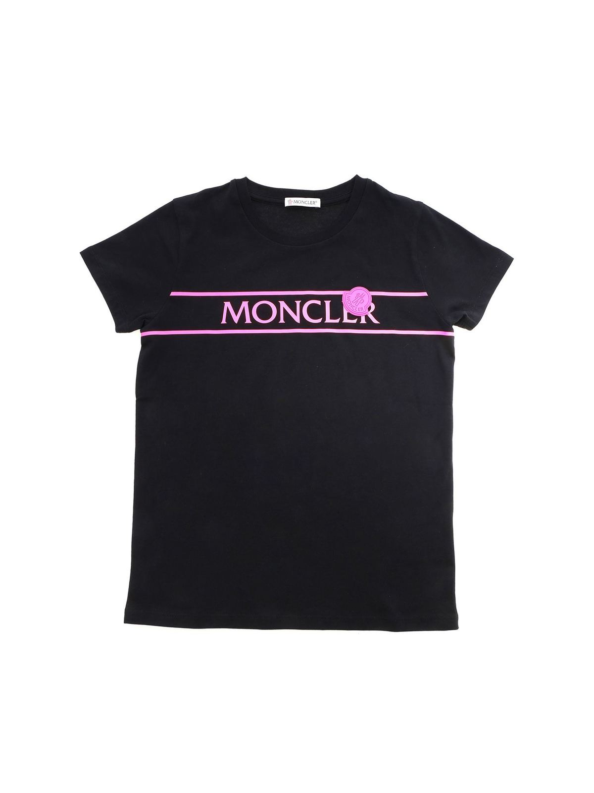 MONCLER JR FLUO LOGO T-SHIRT IN BLACK