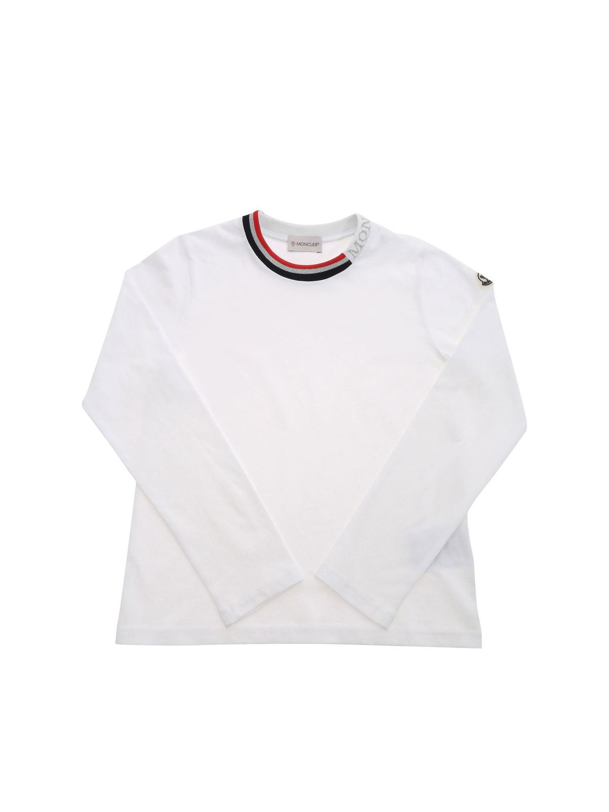MONCLER JR LAME LOGO T-SHIRT IN WHITE