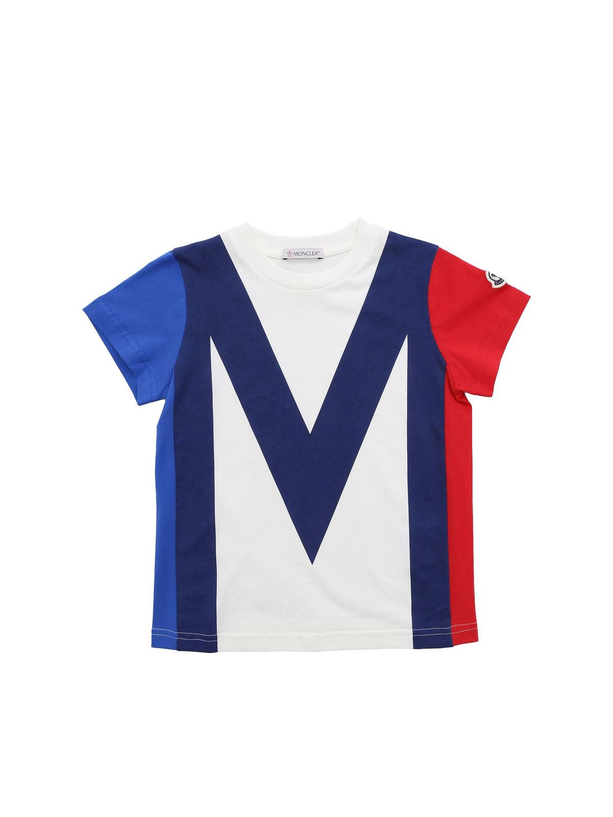 MONCLER JR LOGO PATCH T-SHIRT IN BLUE RED AND IVORY