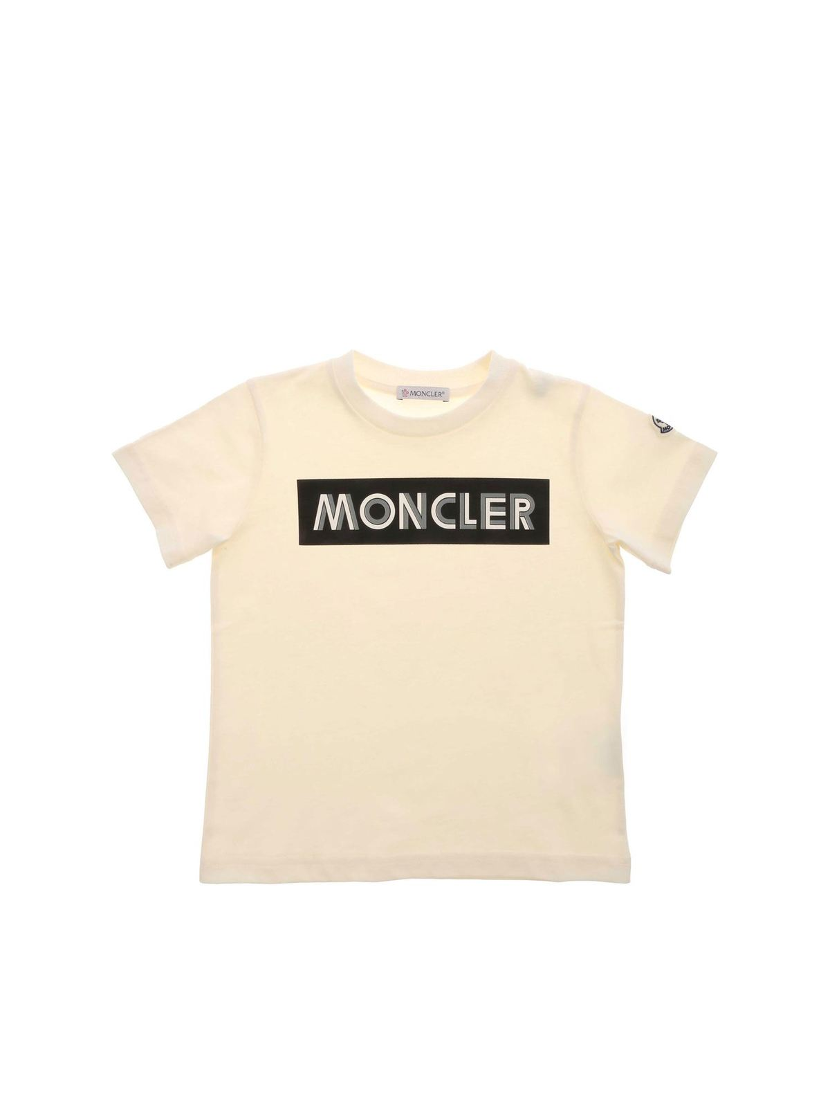 Moncler Jr Cottons LOGO PRINT T-SHIRT IN IVORY COLOR