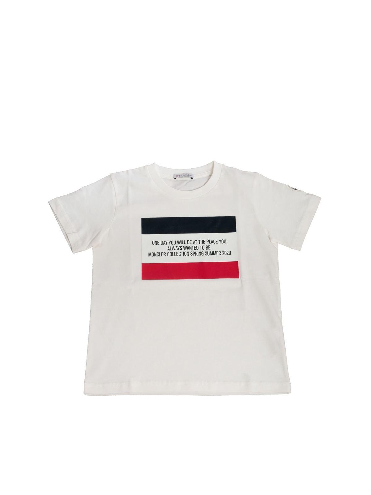 Moncler Jr Cottons LOGO PRINTED T-SHIRT IN WHITE