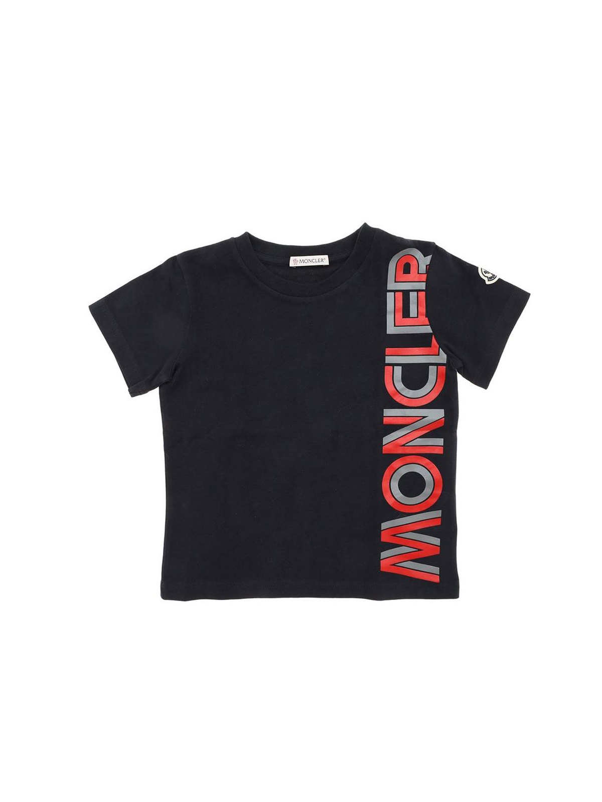MONCLER JR RED AND GREY LOGO T-SHIRT IN BLUE