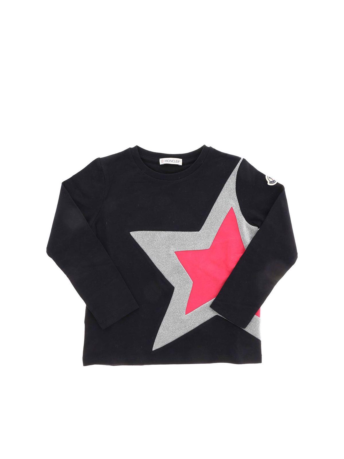MONCLER JR STAR LONG-SLEEVED T-SHIRT IN BLACK