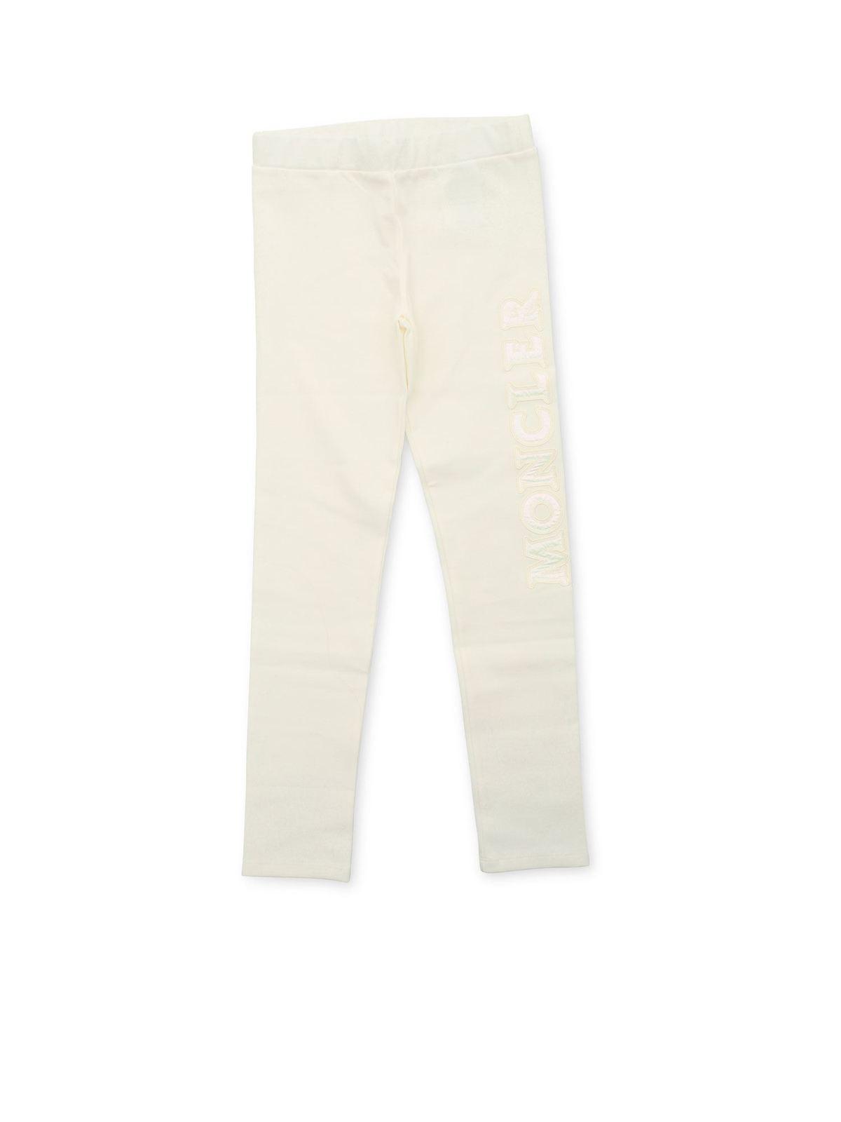 Moncler Jr Pants BRANDED FLEECE PANTS IN IVORY COLOR