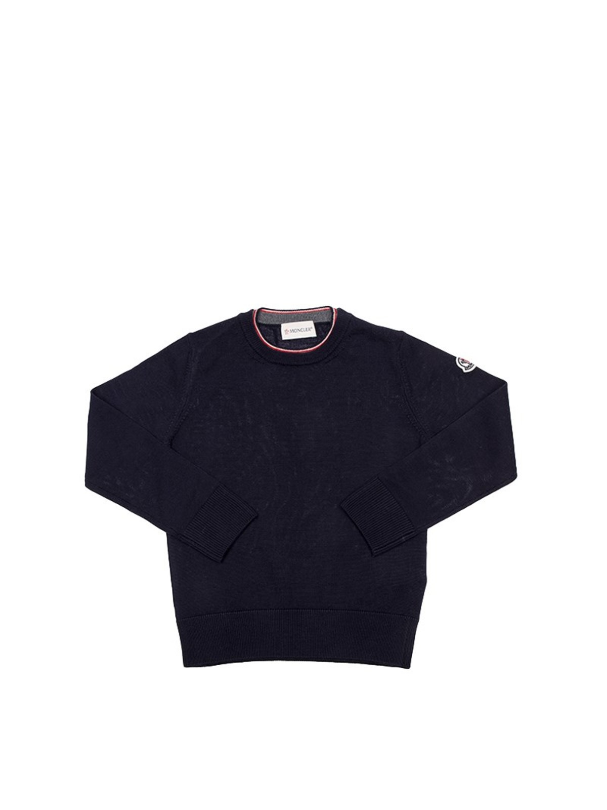 Moncler Jr Wools BLUE VIRGIN WOOL PULLOVER