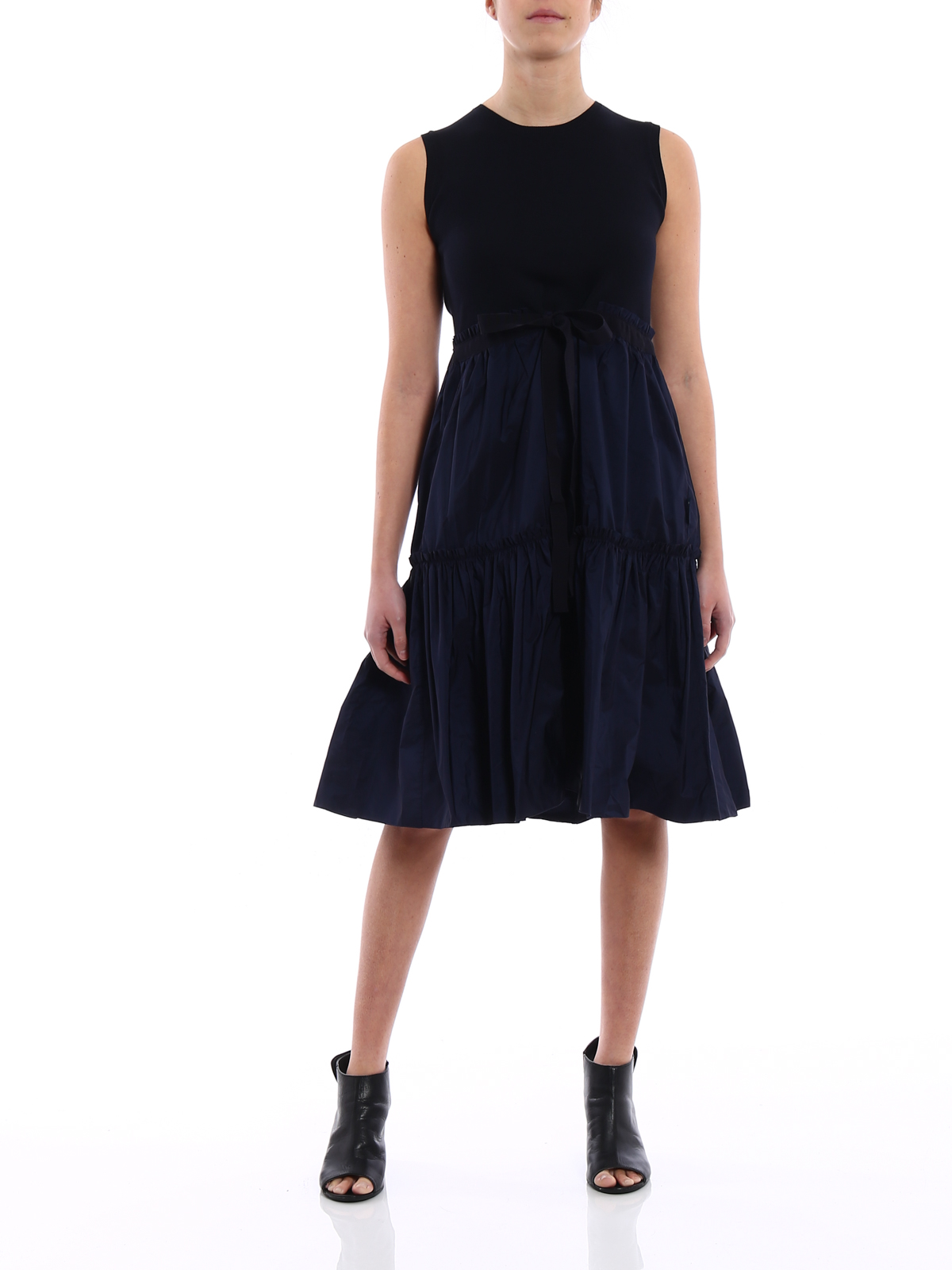 Technical Fabric And Cotton Dress By Moncler Knee Length