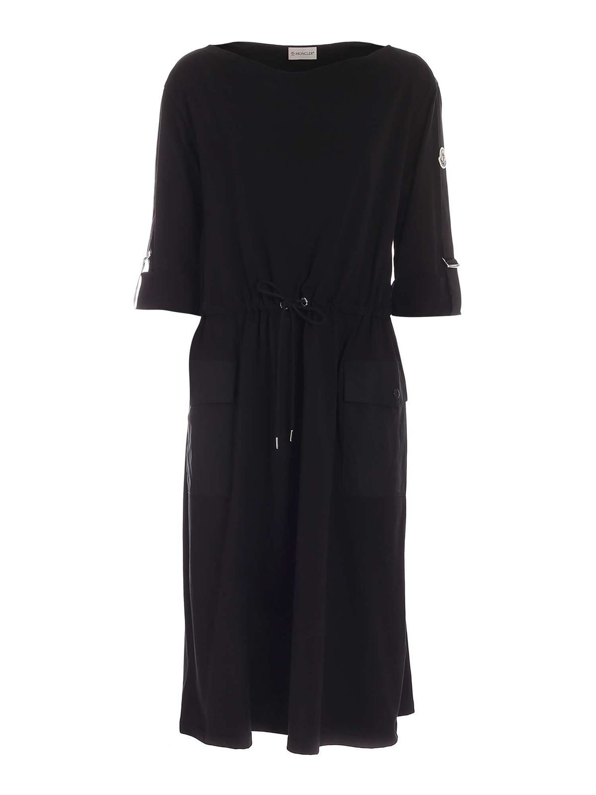 Moncler Midi dresses DRAWSTRING DRESS IN BLACK