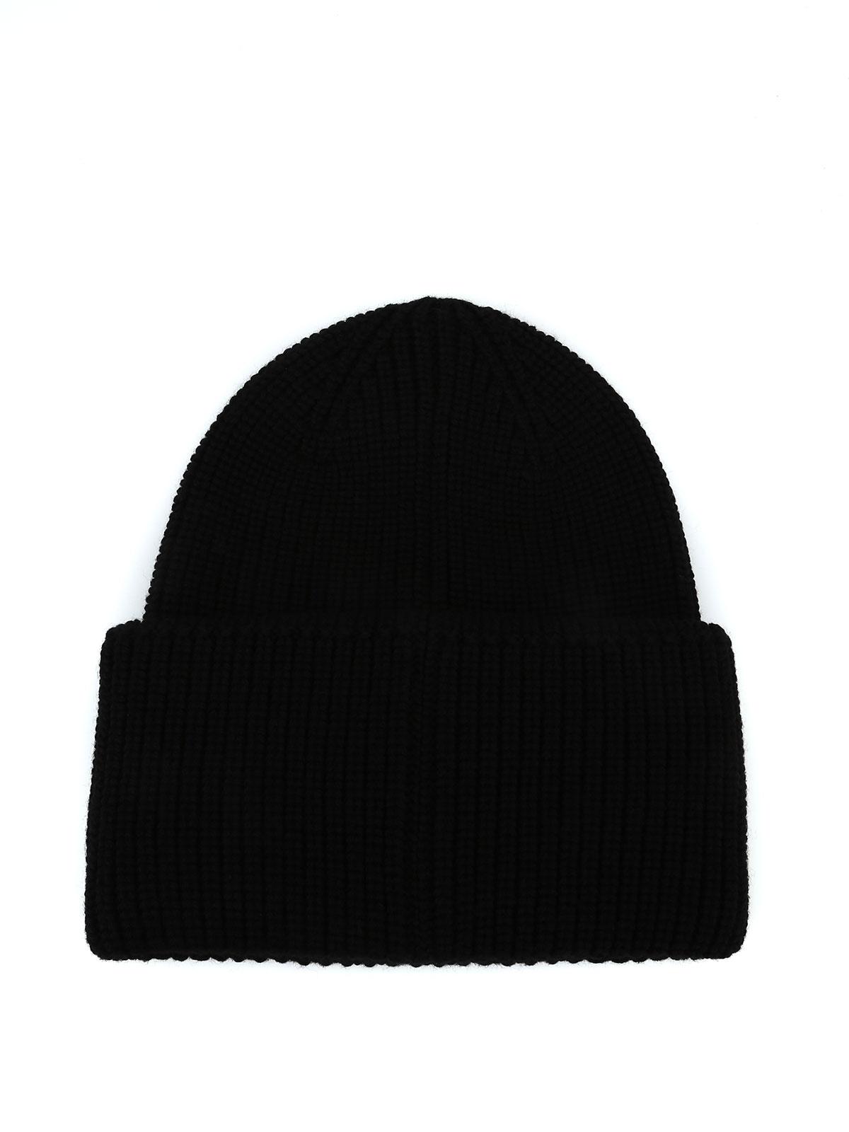 b0e8b576f1d Moncler - Black rib knitted pure wool Moncler beanie - beanies - D2 ...