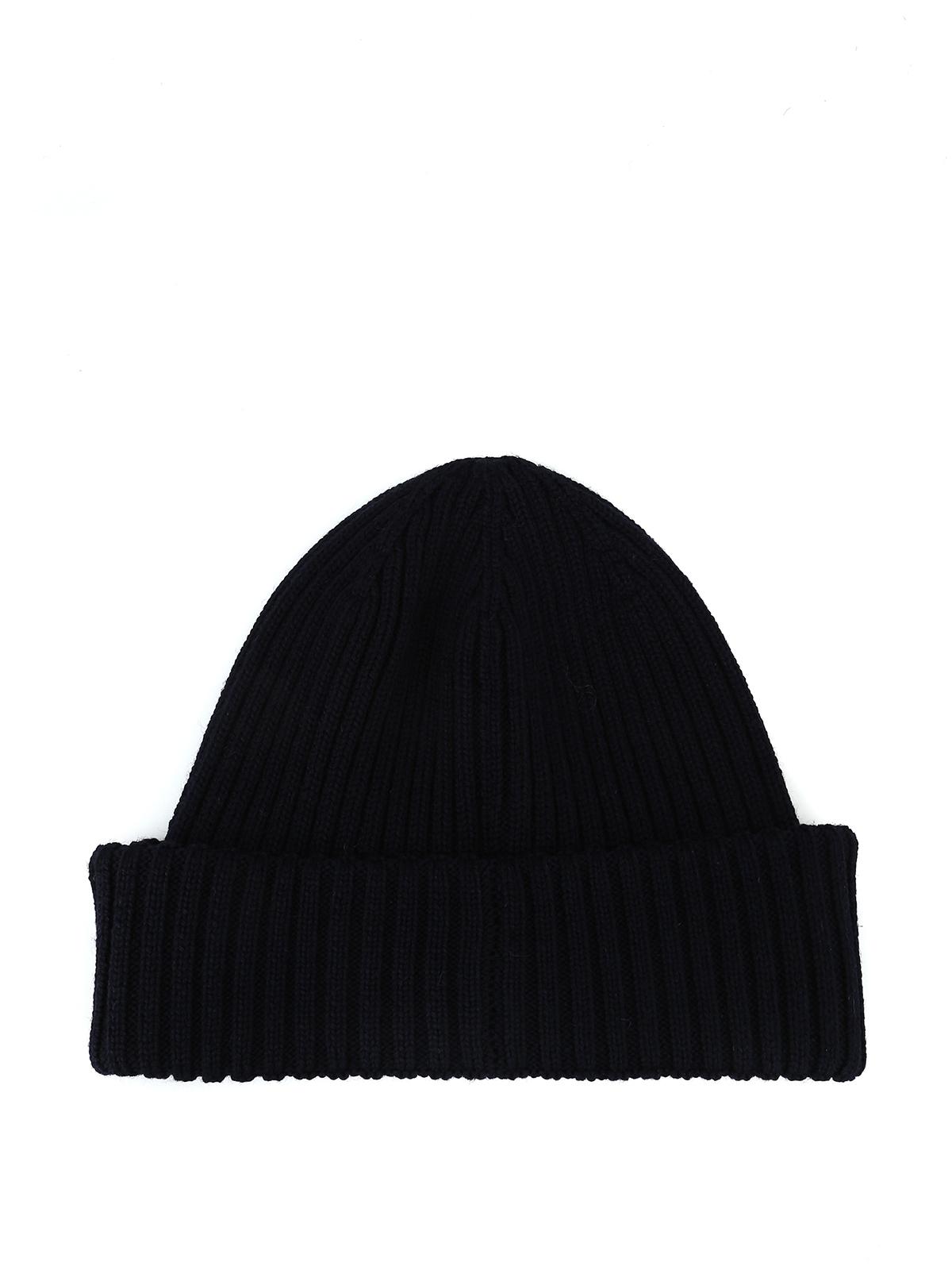 d17ec93cecb Moncler Ribbed Knit Beanie Hat - Parchment N Lead