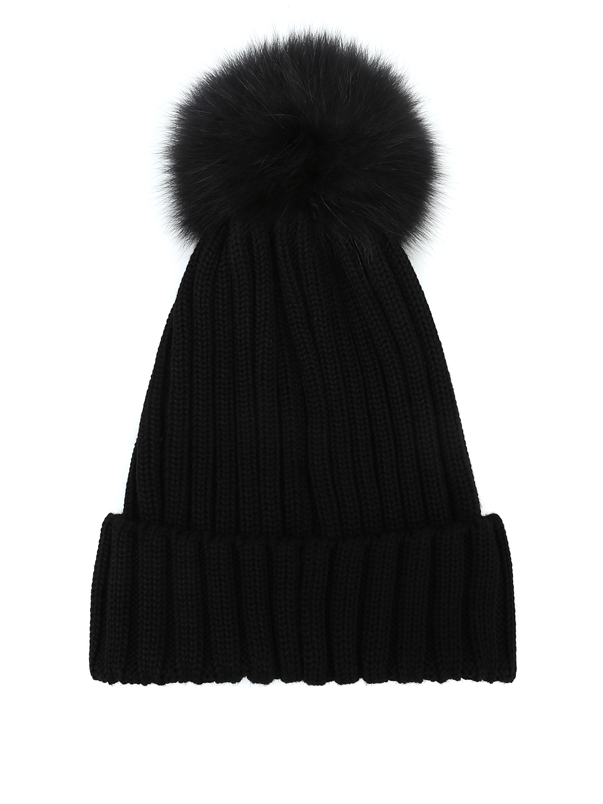 49ccea5ce16 Moncler - Fur pompom black ribbed wool beanie - beanies - D2 093 ...