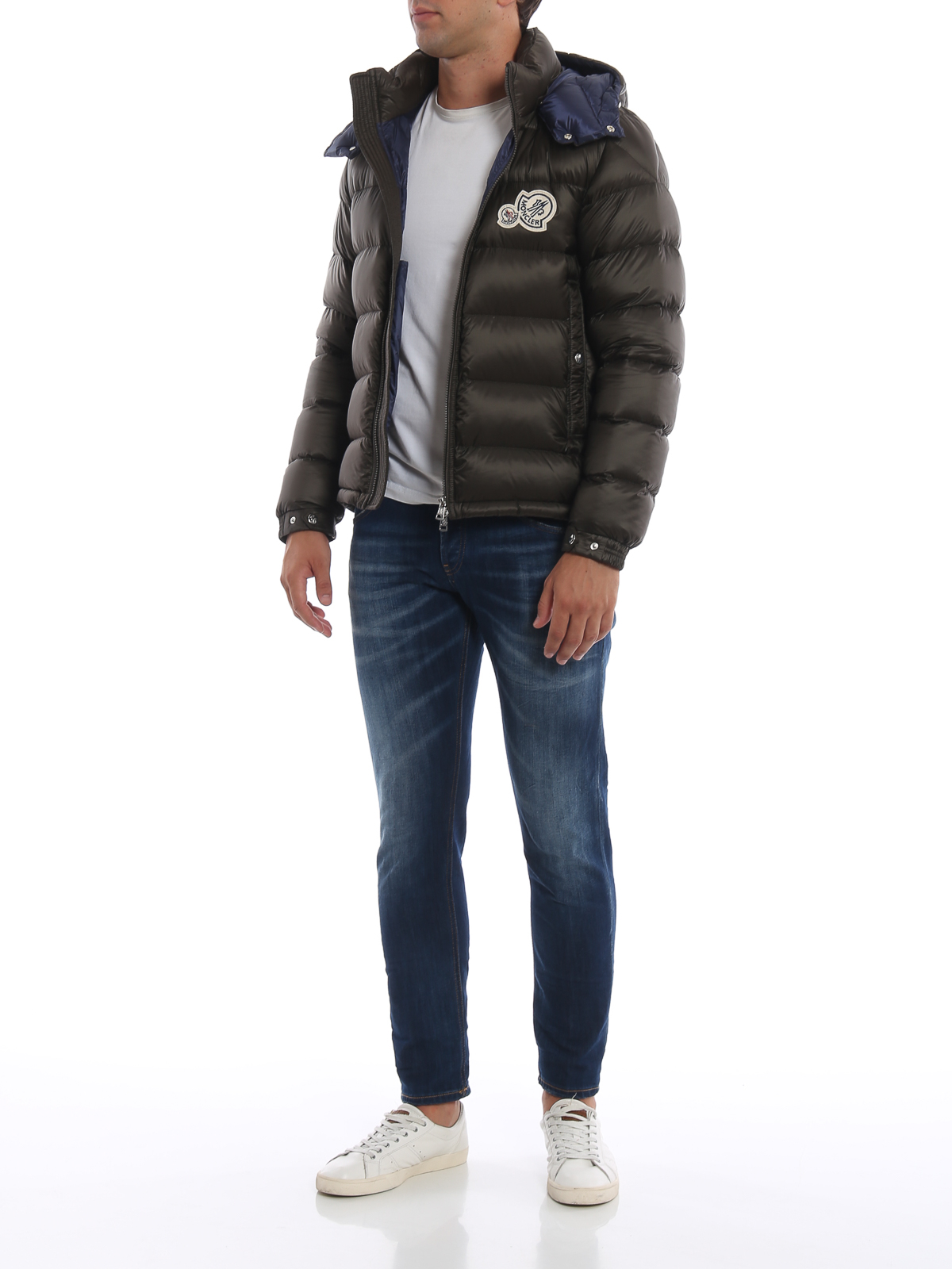 MONCLER: padded jackets online - Bramant moss green hooded puffer jacket