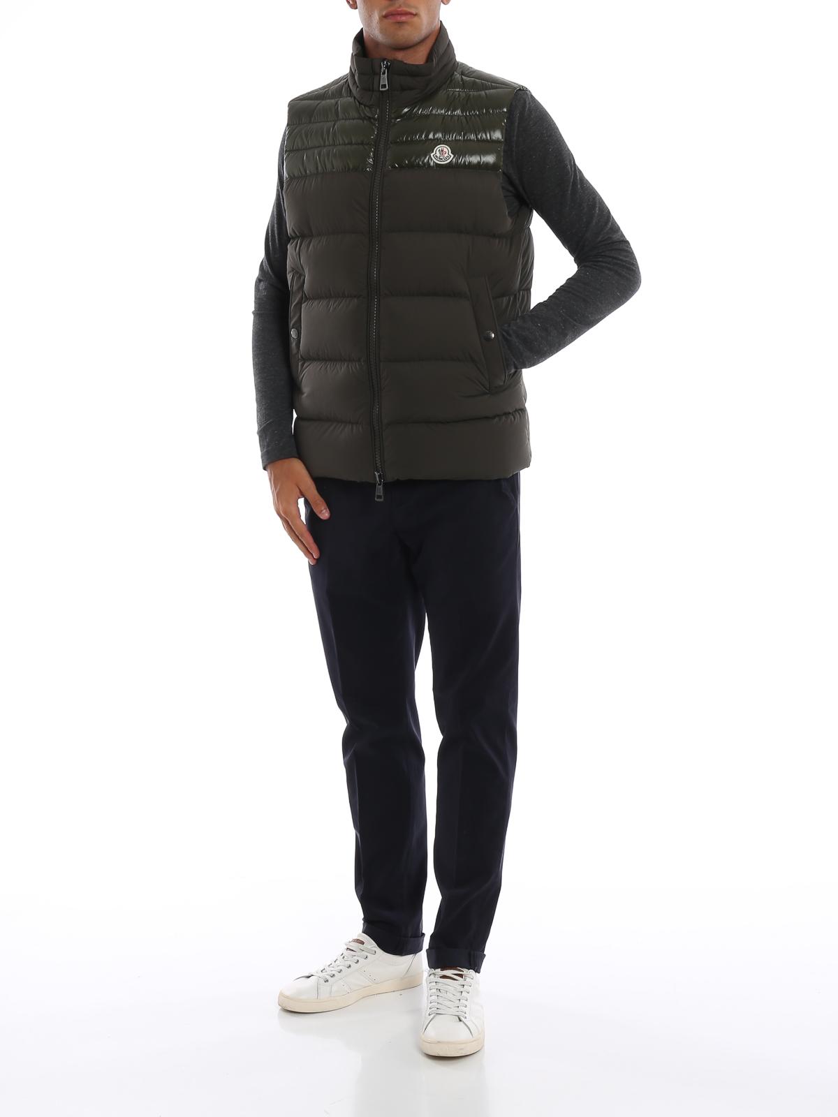 61c59eeedefd MONCLER  padded jackets online - Deneb moss green sleeveless puffer jacket