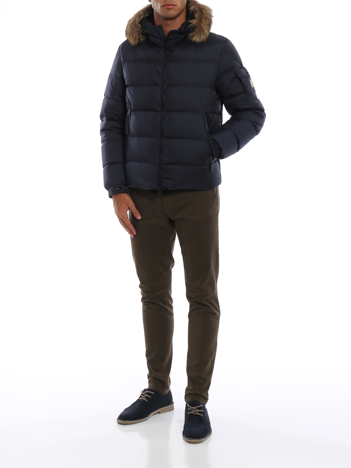 MONCLER  padded jackets online - Marque puffer jacket with fur trimmed hood 853229c60f2
