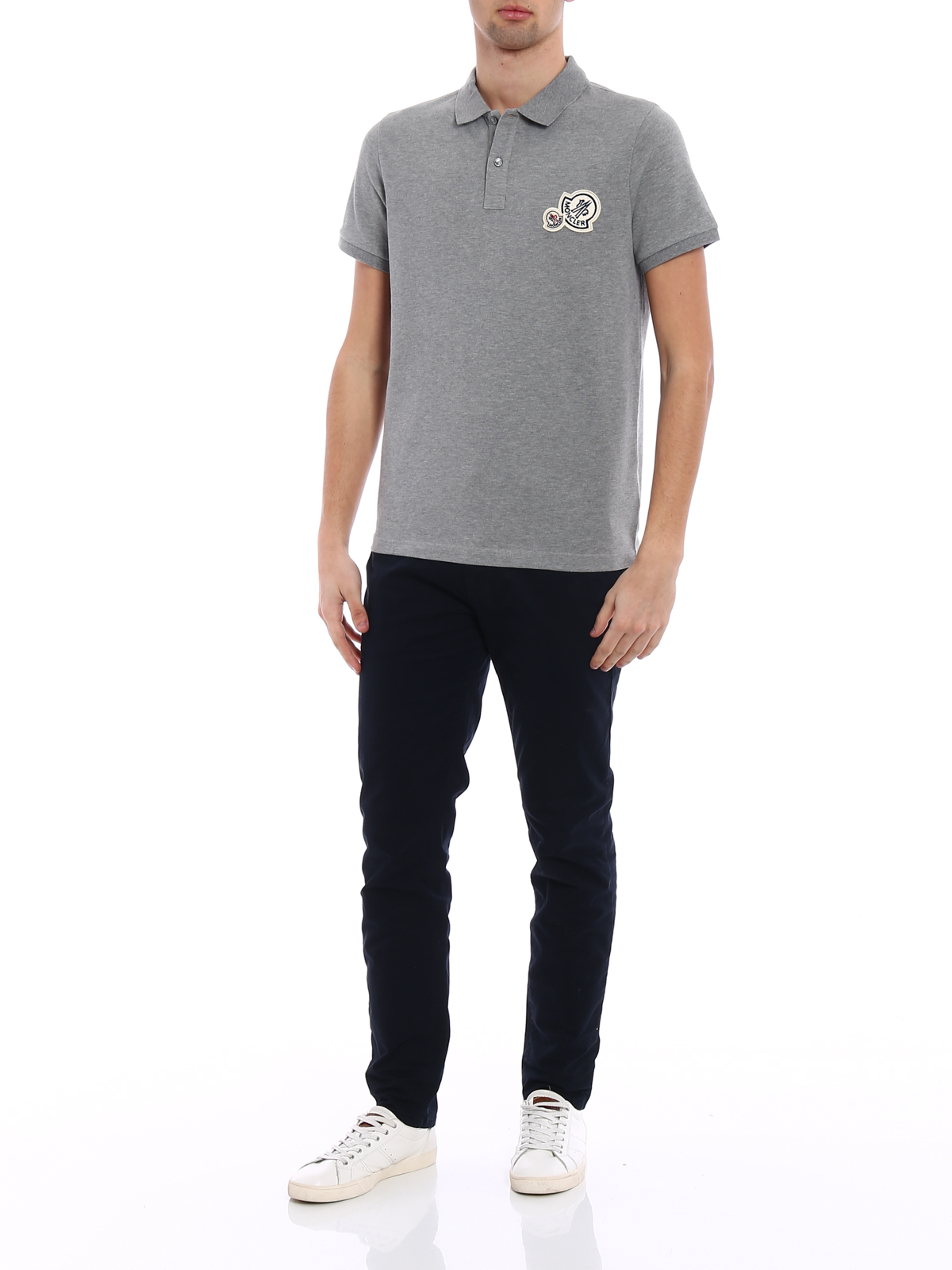 MONCLER: polo shirts online - Logo patch grey cotton polo shirt