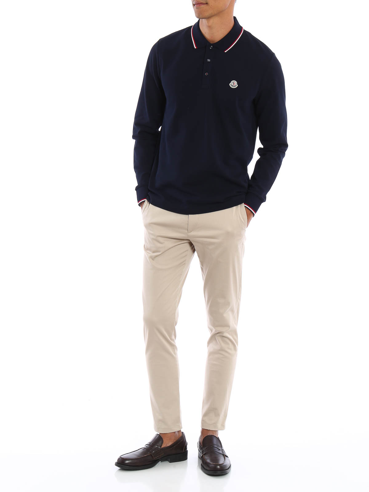 MONCLER: polo shirts online - Long sleeved cotton polo shirt