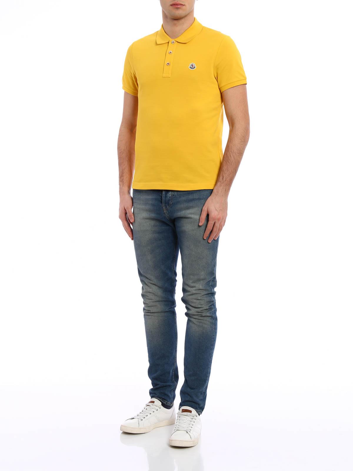 MONCLER: polo shirts online - Plain cotton pique polo shirt