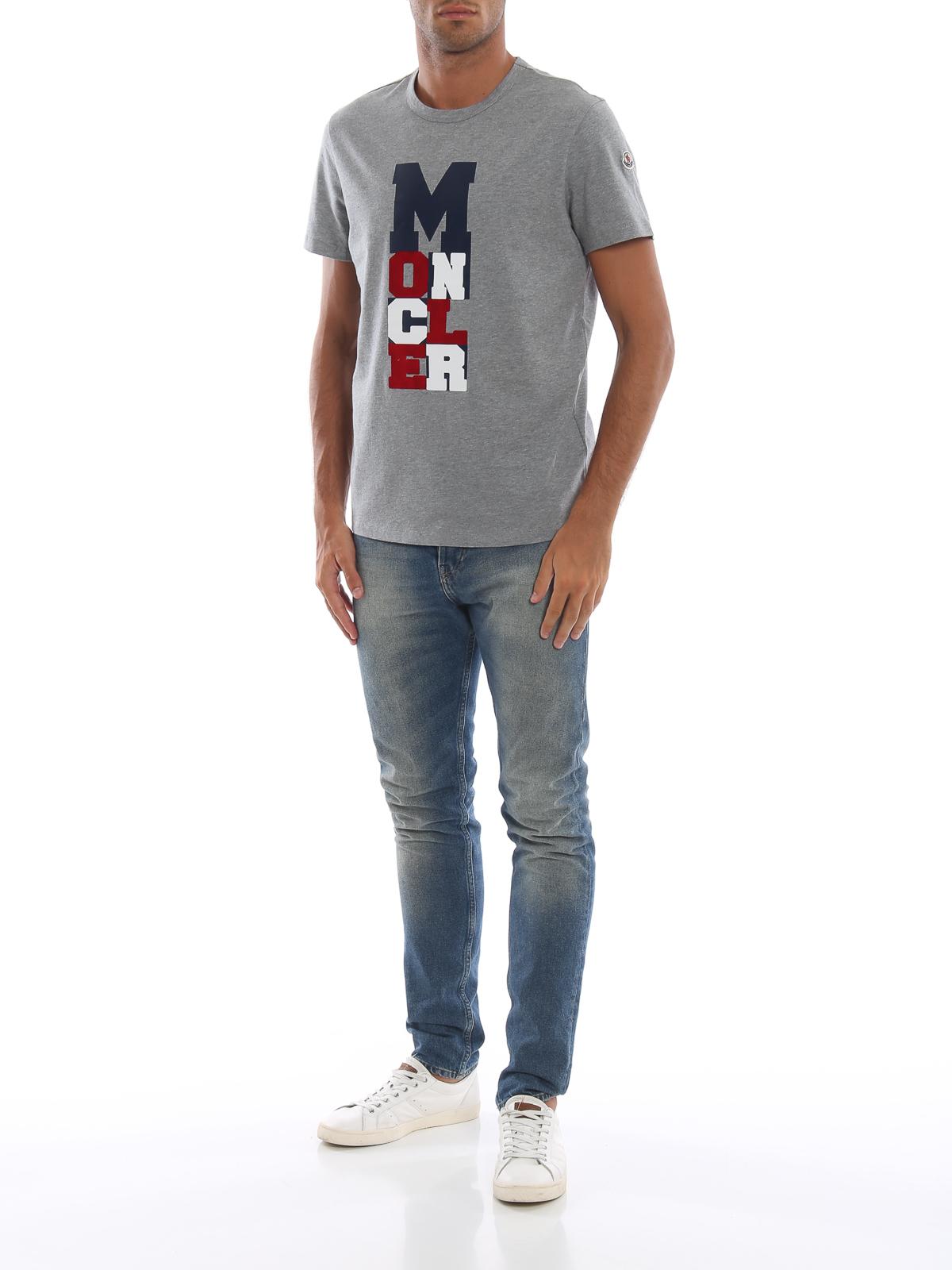 a5156235f6ca Moncler - Rubberized tricolour logo print grey T-shirt - t-shirts ...