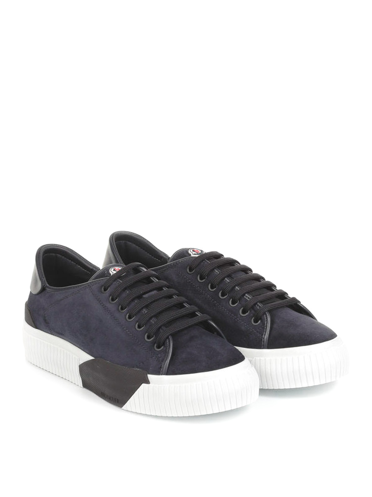 Moncler: trainers online - Conrad blue suede sneakers