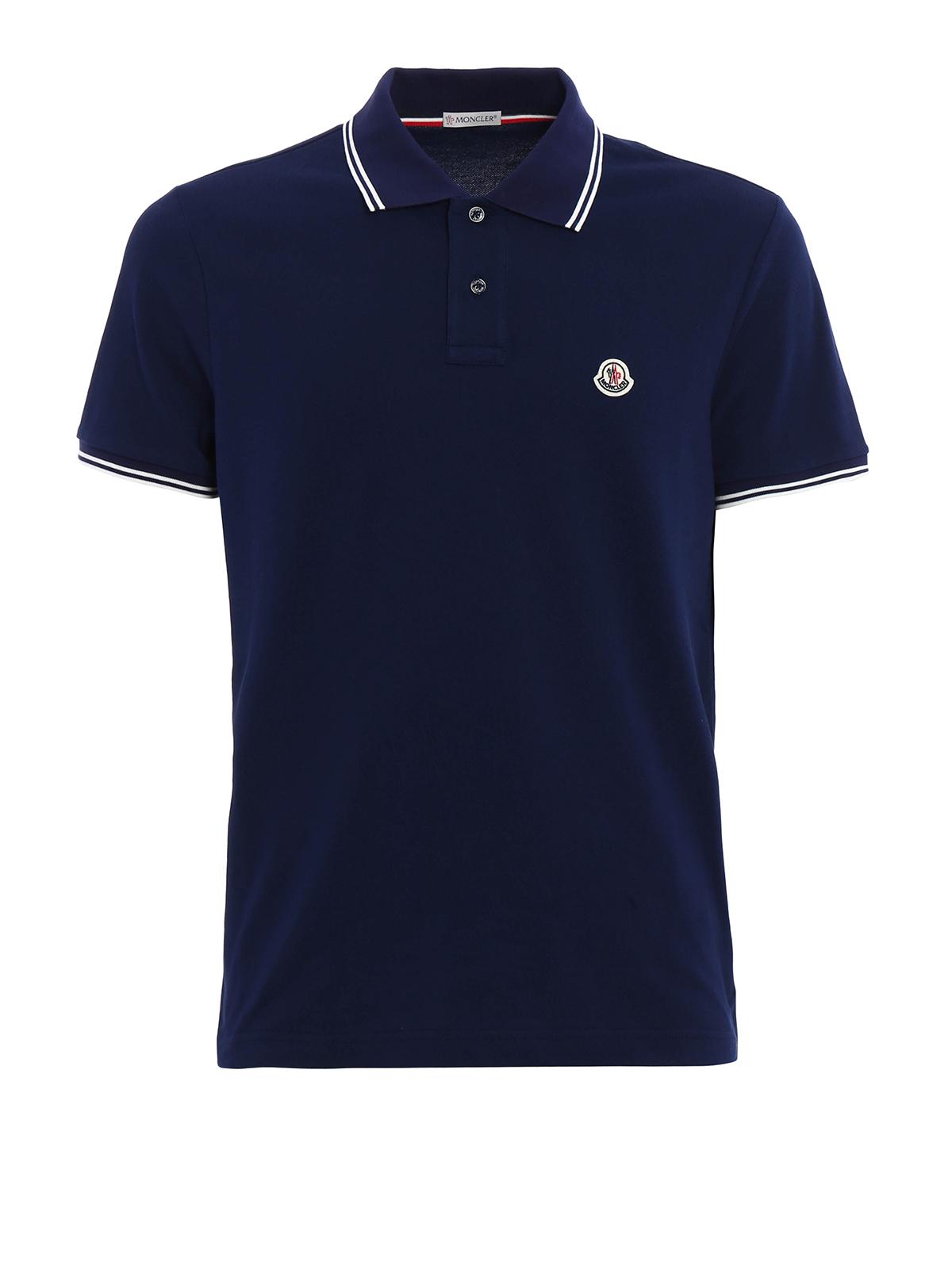 Cotton striped collar polo shirt by moncler polo shirts for Moncler polo shirt sale