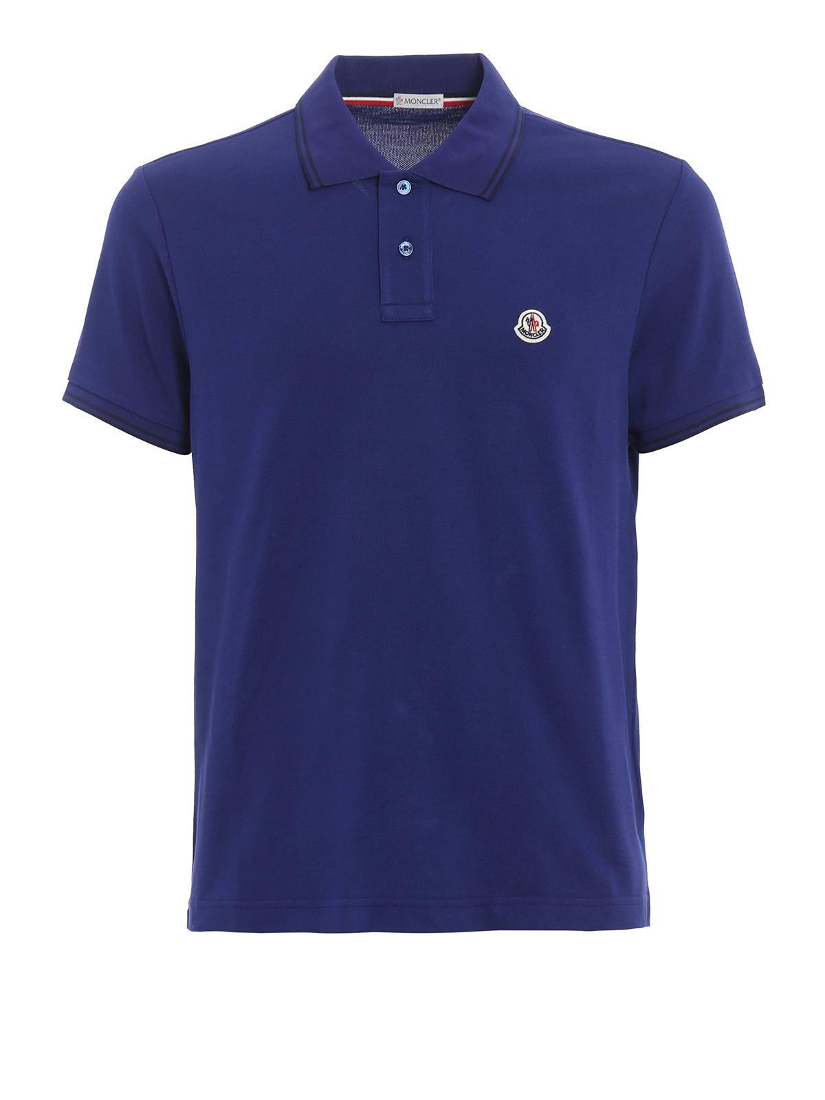 Cotton Striped Collar Polo Shirt By Moncler Polo Shirts