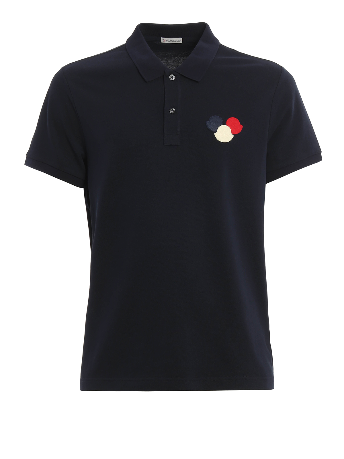 Logo patch cotton pique polo shirt by moncler polo for Polo shirts with logos