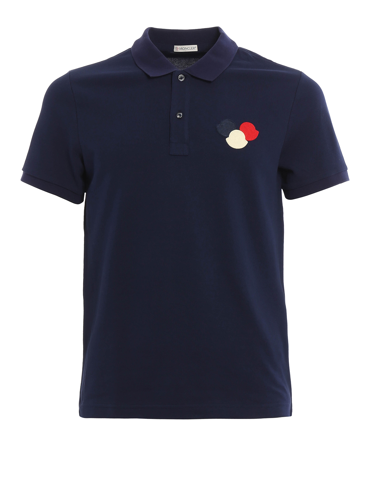 Logo patch cotton pique polo shirt by moncler polo for Order polo shirts with logo
