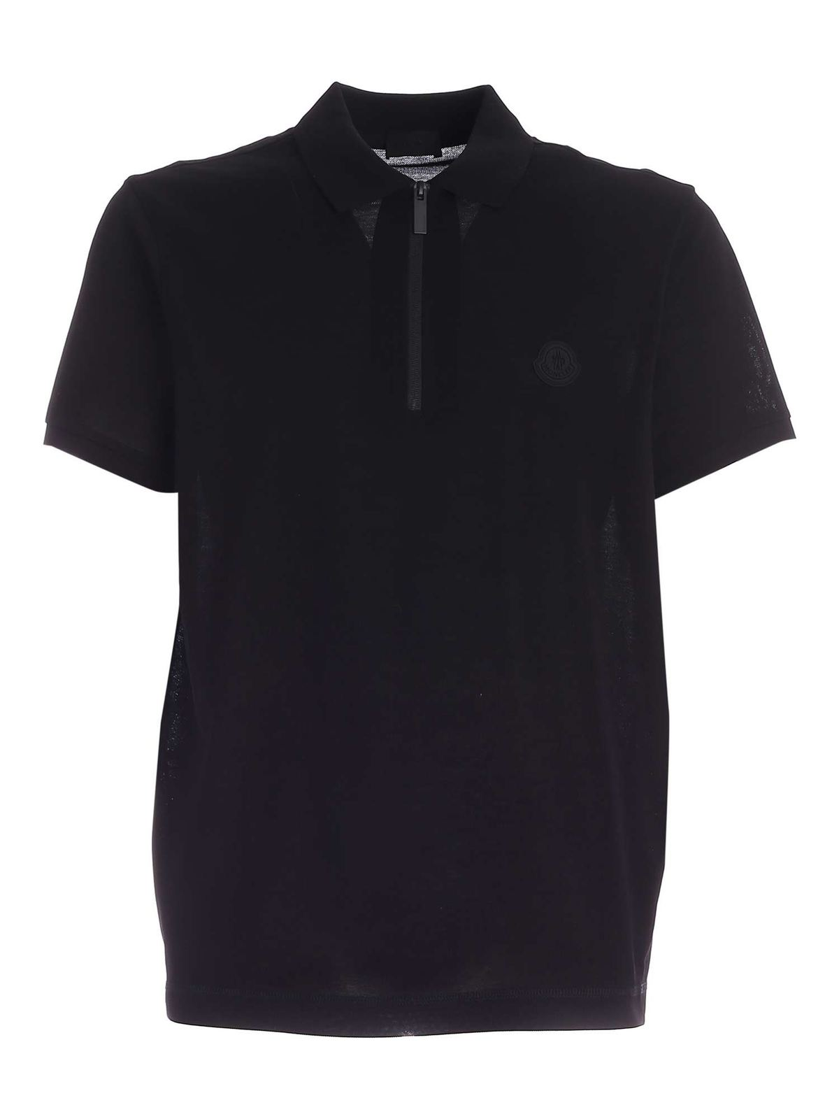 Moncler LOGO PATCH POLO SHIRT IN BLACK