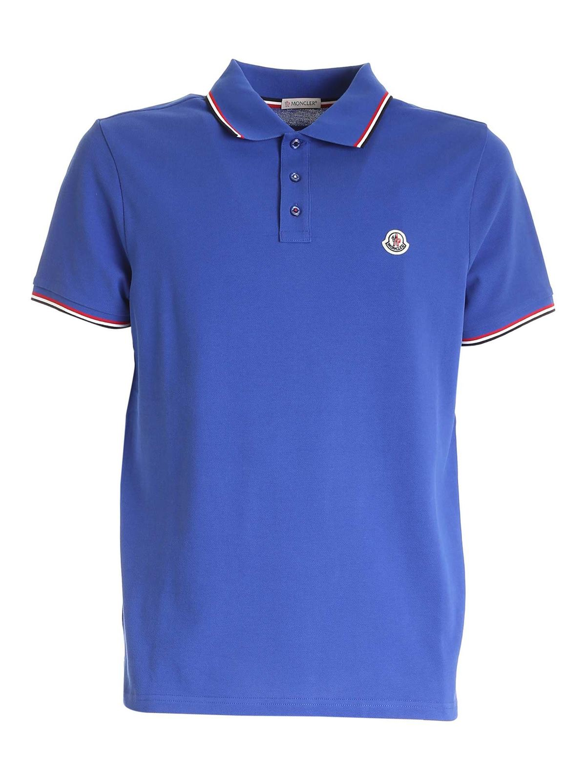 Moncler LOGO PATCH POLO SHIRT IN BLUE