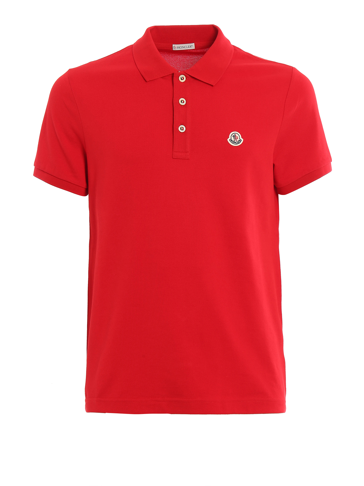plain cotton pique polo shirt by moncler polo shirts
