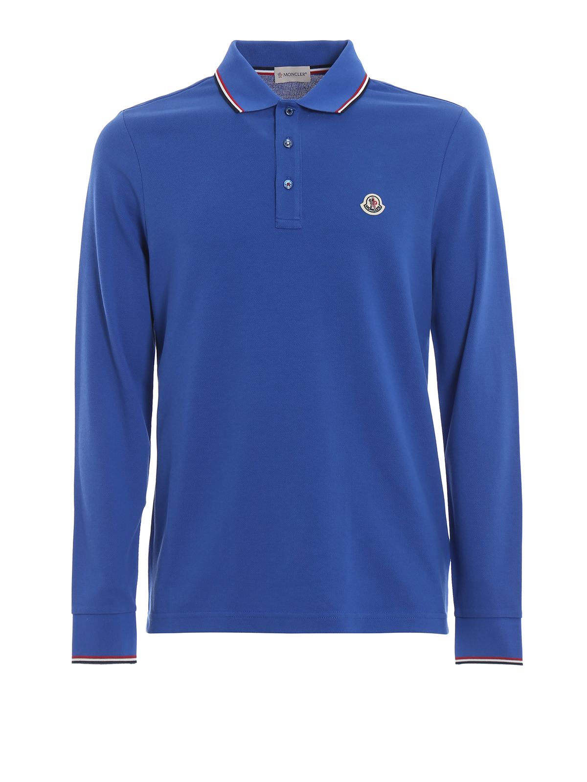 MONCLER: polo shirts - Royal blue long sleeve polo shirt