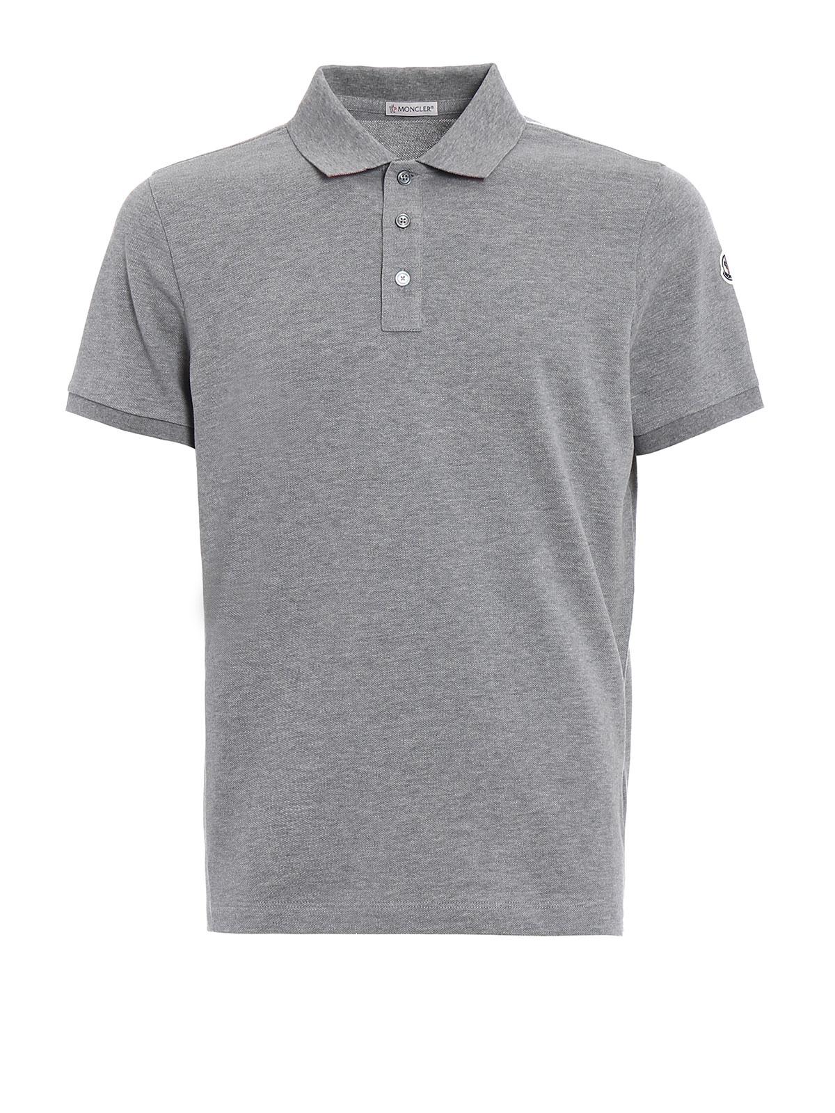 MONCLER: polo shirts - Solid grey polo shirt