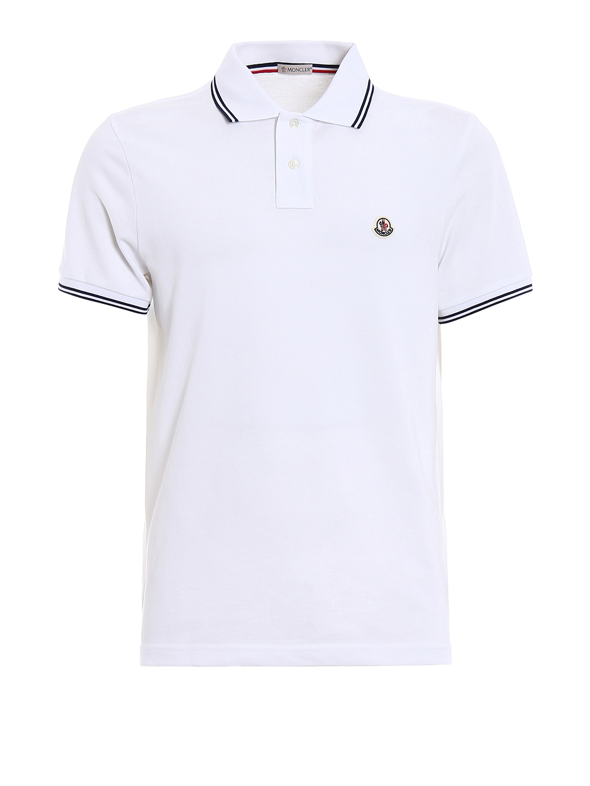 MONCLER: polo shirts - Striped collar and cuffs white polo