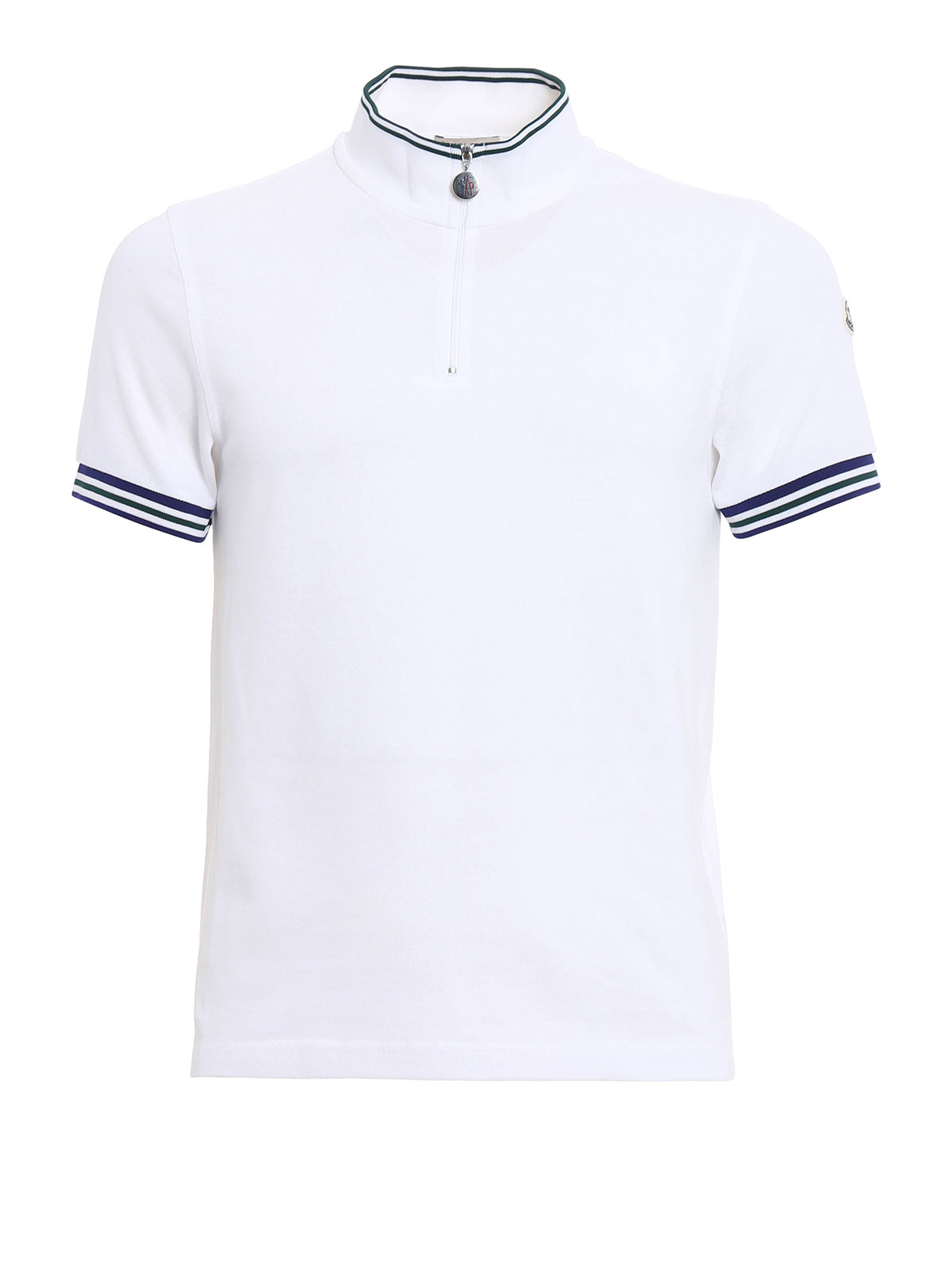 Zipped Cotton Pique Polo Shirt By Moncler Polo Shirts