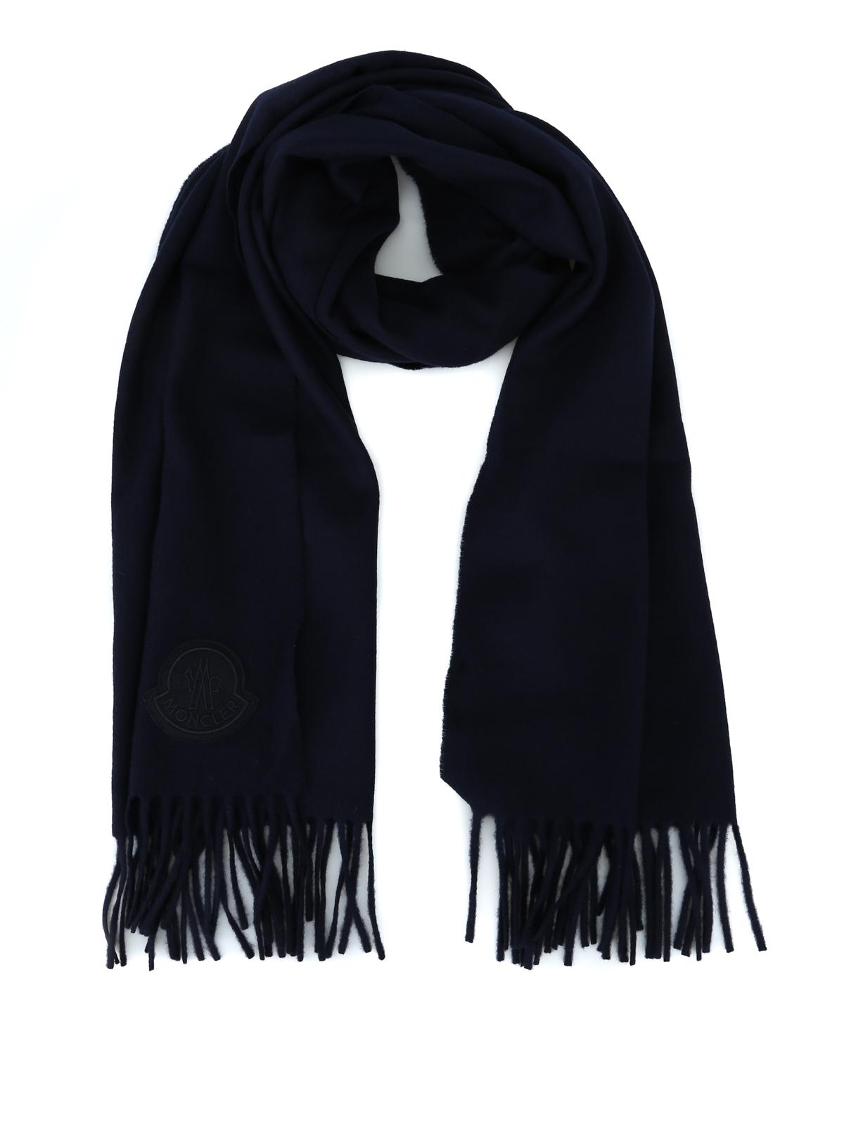 Moncler - Blue fringed wool cloth scarf - scarves - D2 091 0086400 ... 6eba7e234d39