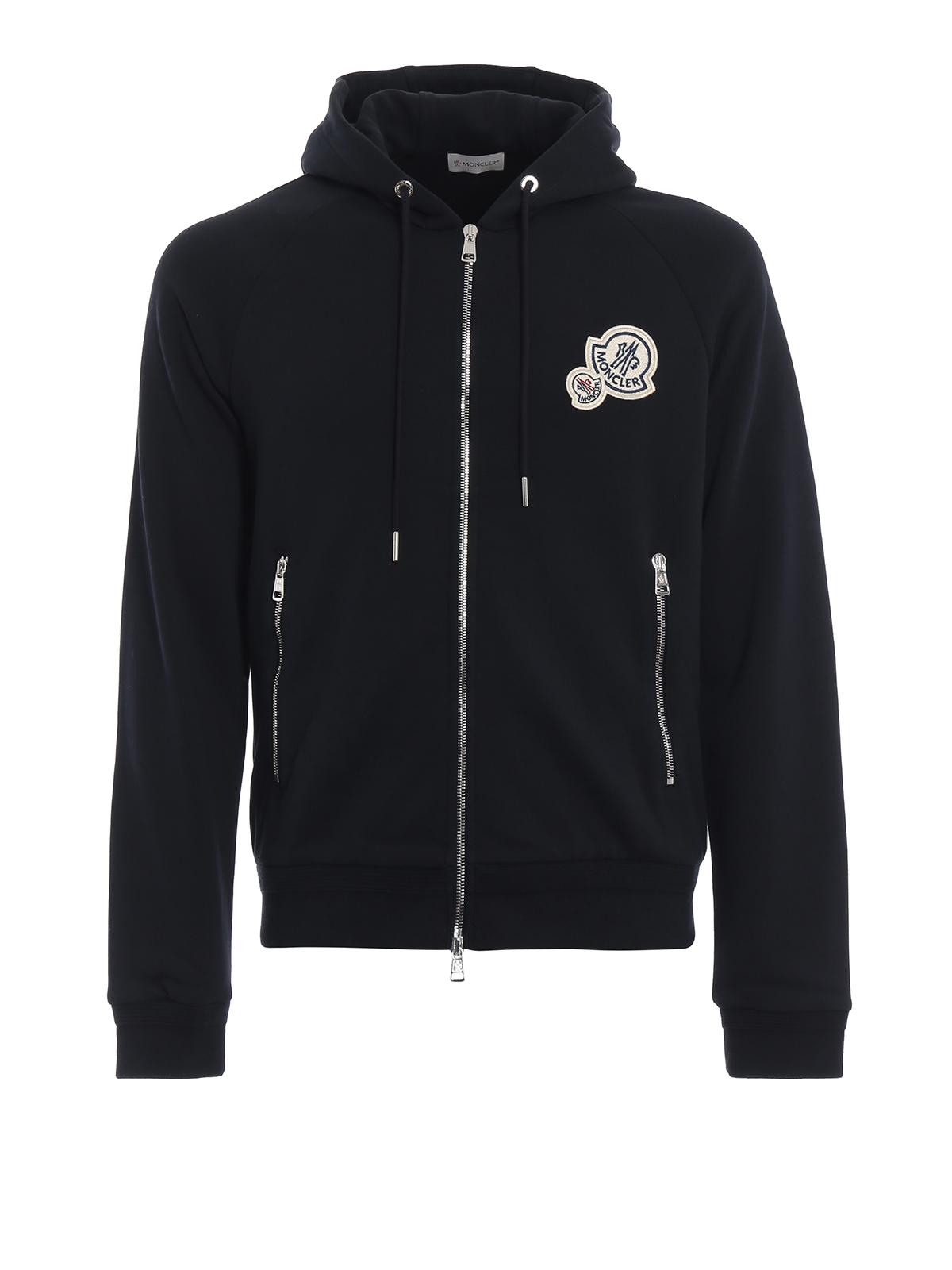 99eb2686703d Moncler - Double logo patch navy cotton fleece hoodie - Sweatshirts ...