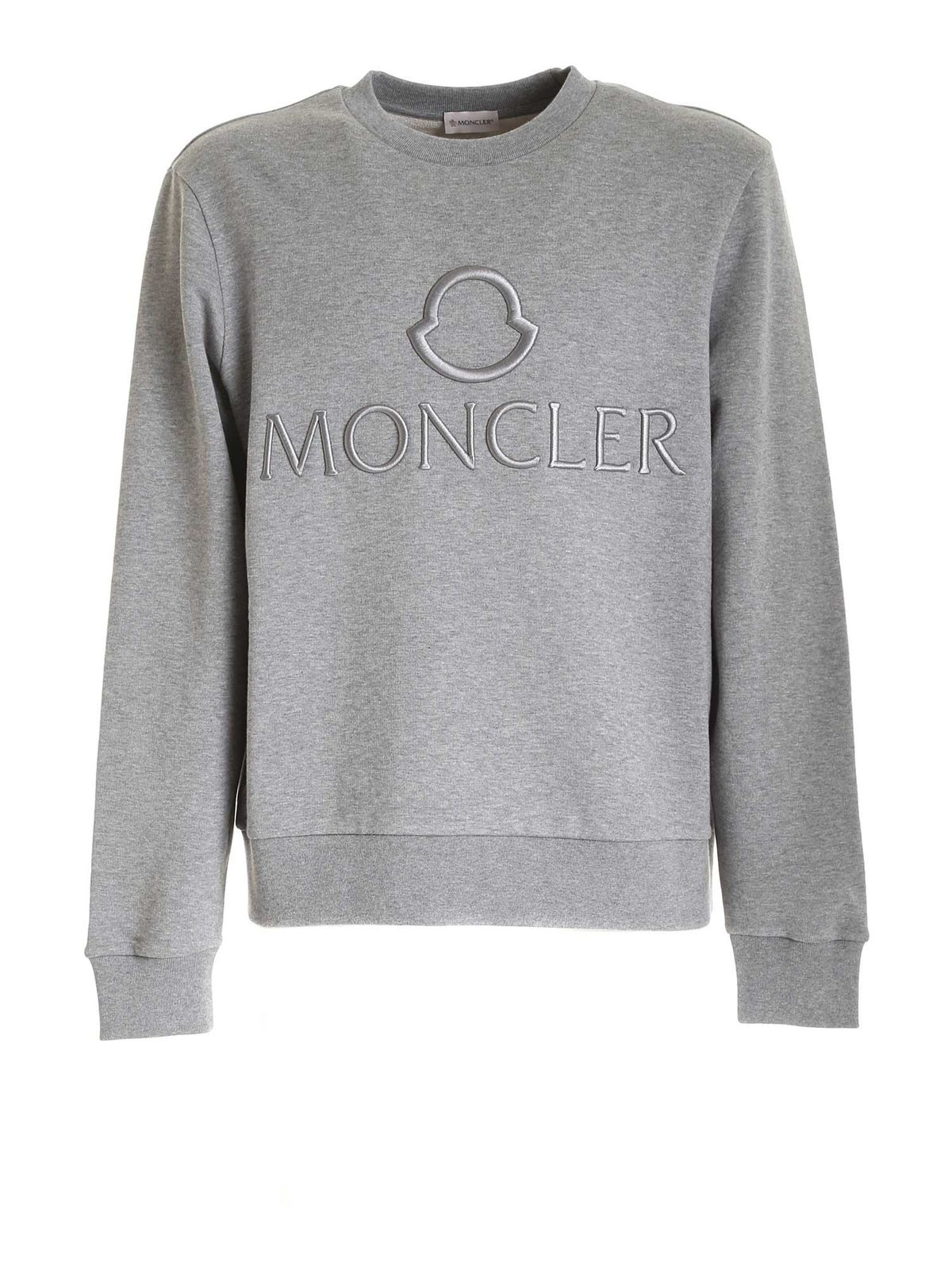 Moncler LOGO CREWNECK SWEATSHIRT IN GREY