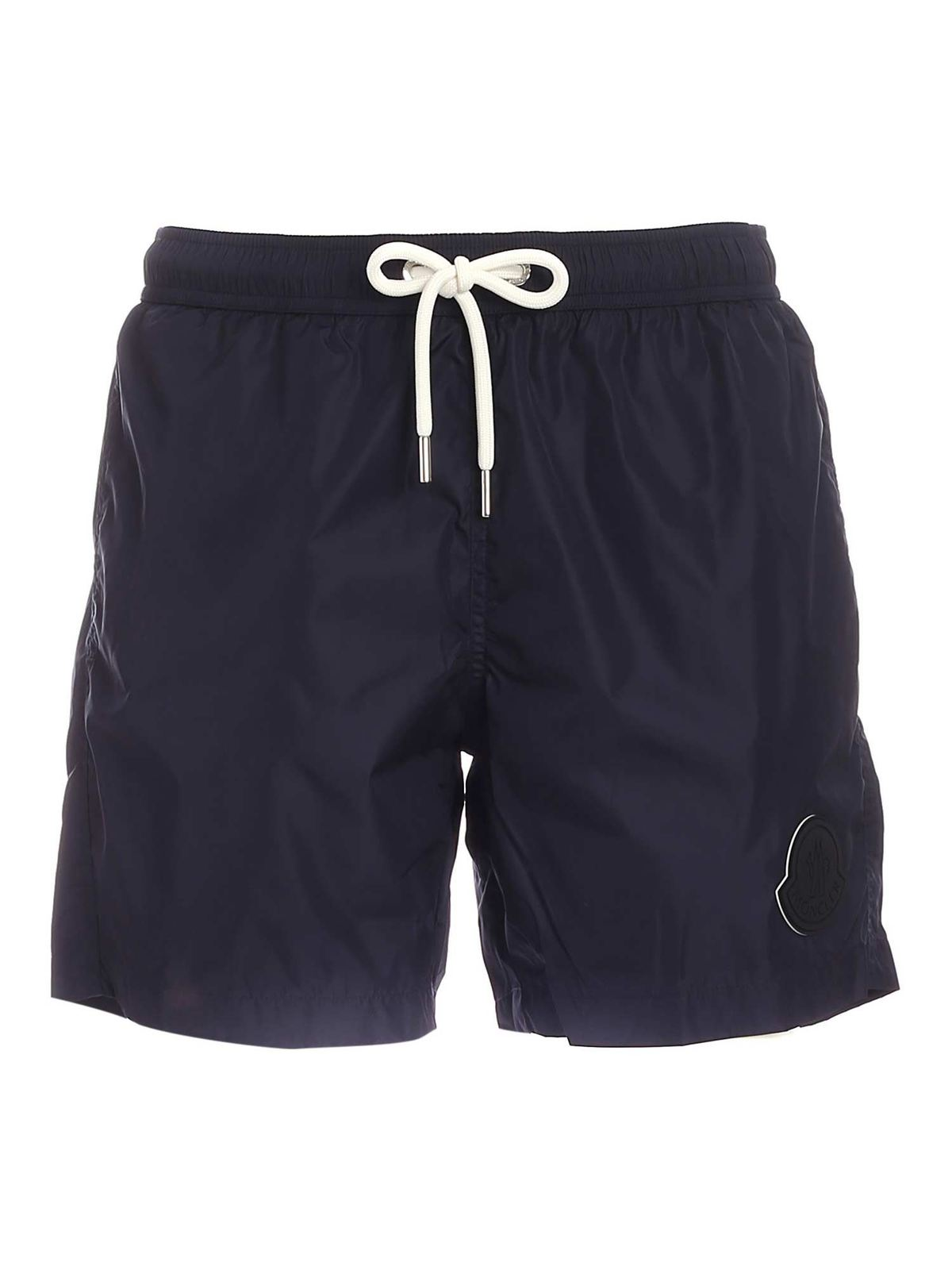 Moncler MAXI LOGO PATCH SWIM SHORTS IN BLUE