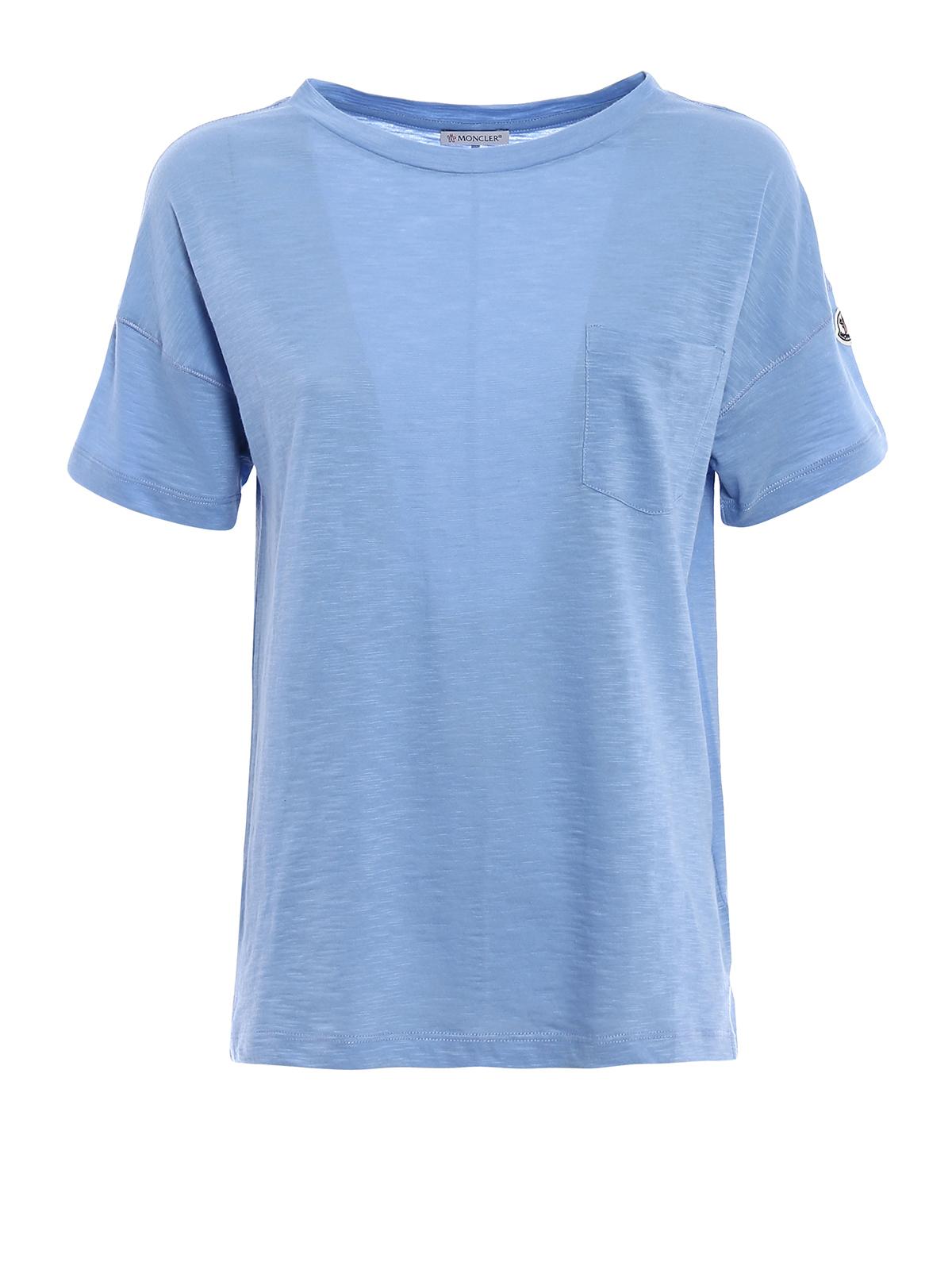 MONCLER: t-shirts - Light blue cotton jersey T-shirt