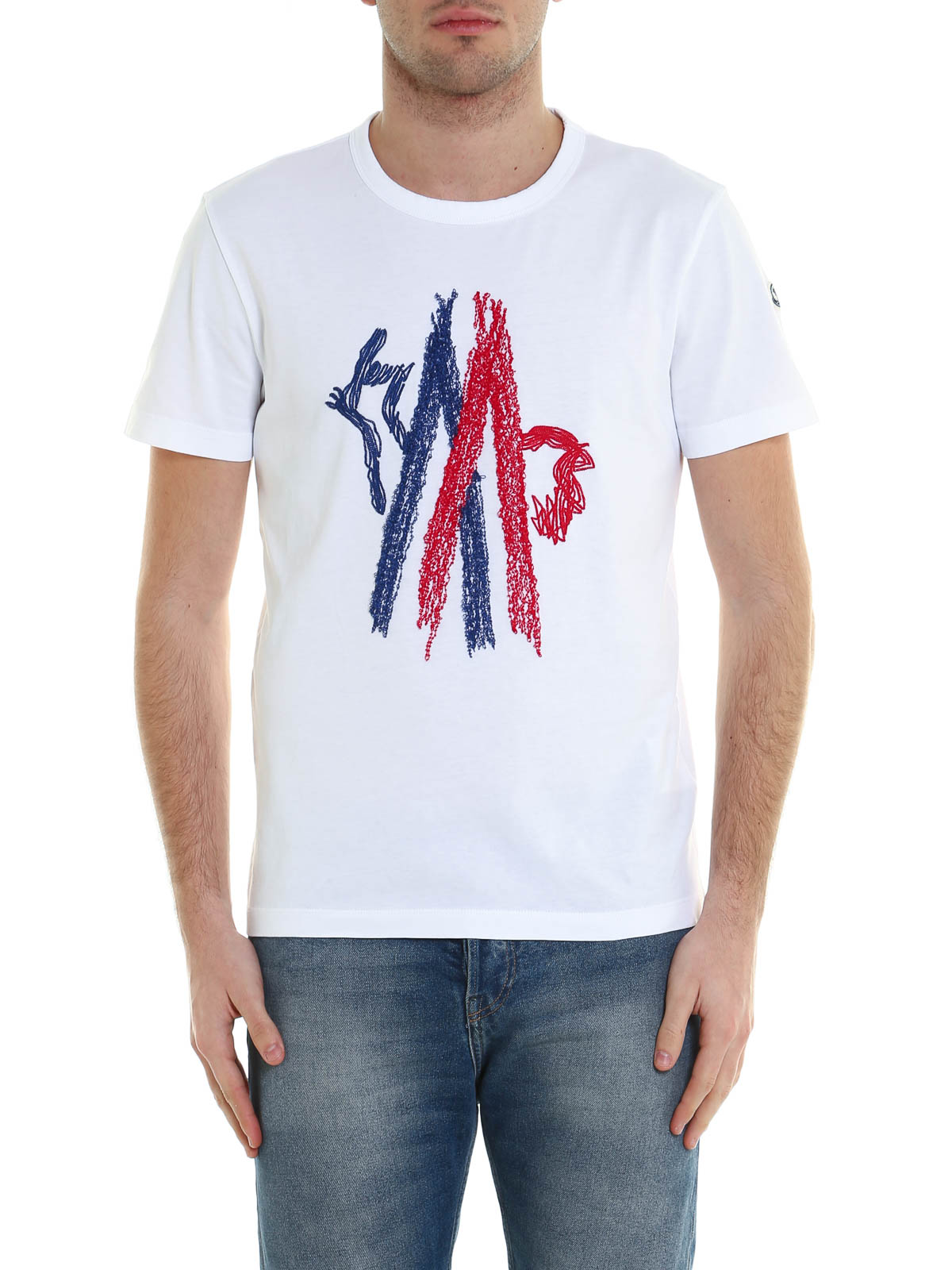 Embroidered cock logo t shirt by moncler t shirts shop for T shirt logo embroidery